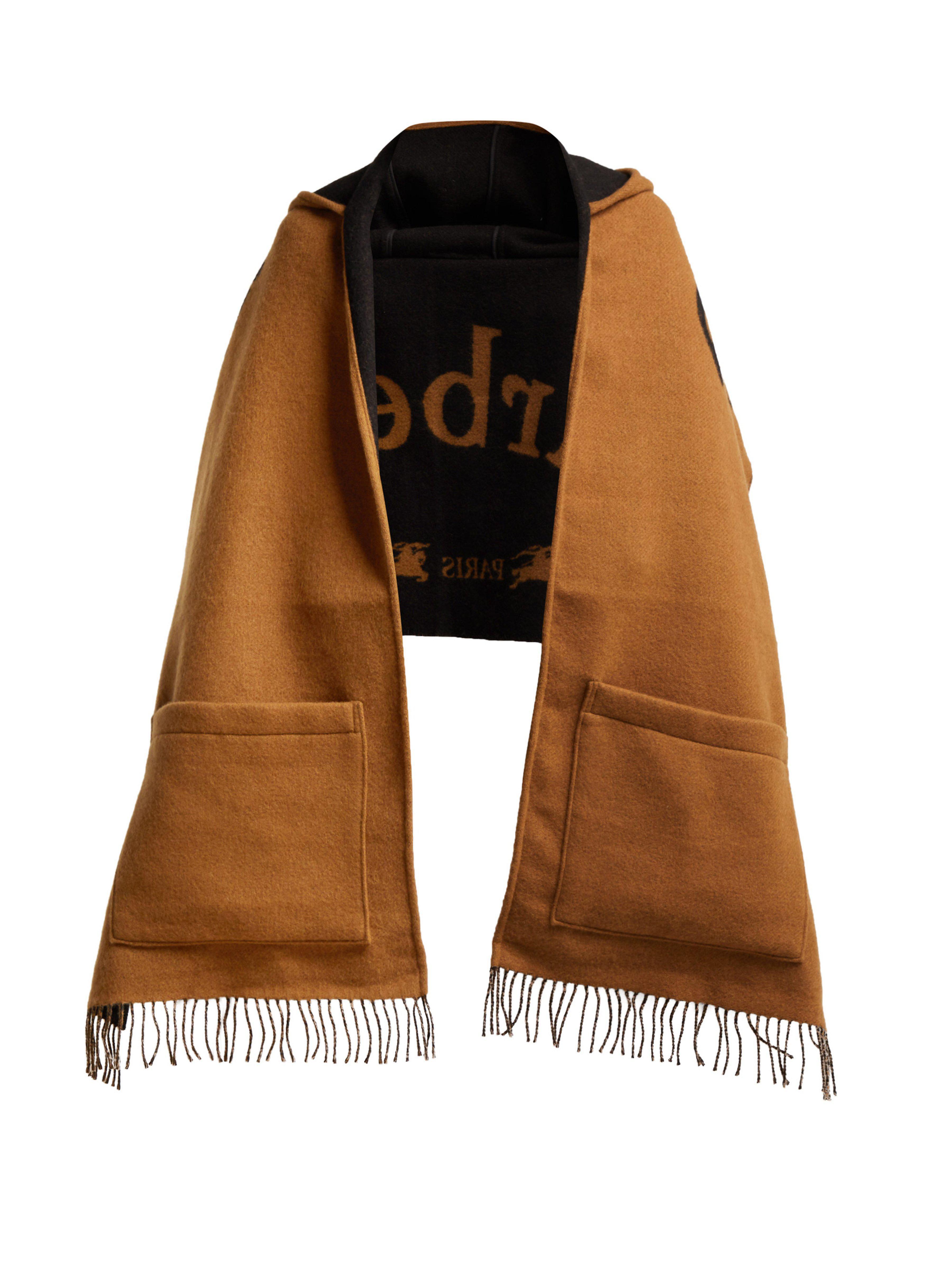 5352420bb93 Burberry Helene Logo-intarsia Wool-blend Hooded Scarf in Black - Lyst
