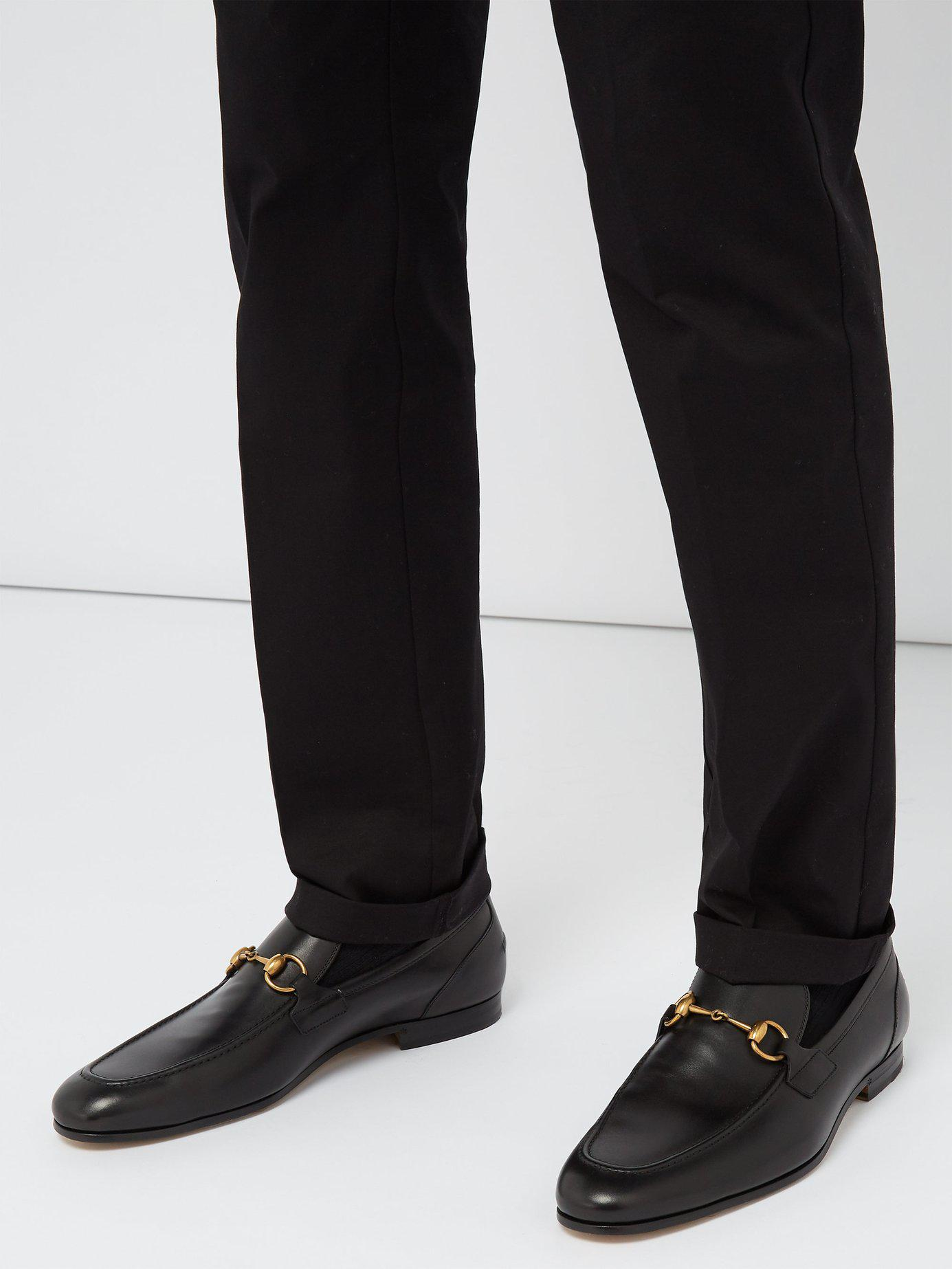 5586ffbdff65 Lyst - Gucci Jordaan Leather Loafers in Black for Men
