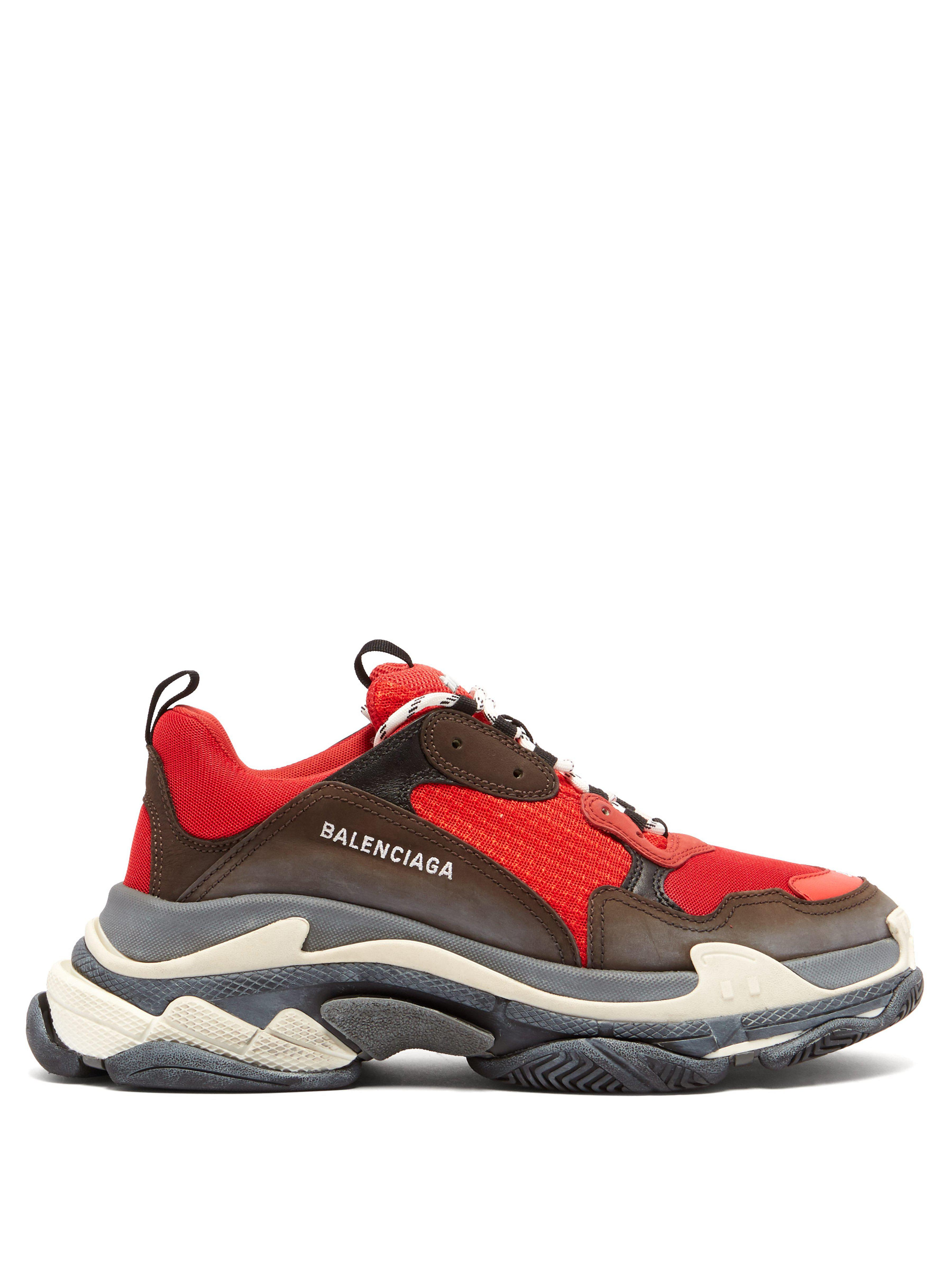 54d4564e52a7 Balenciaga - Black And Red Triple S Sneakers for Men - Lyst. View fullscreen