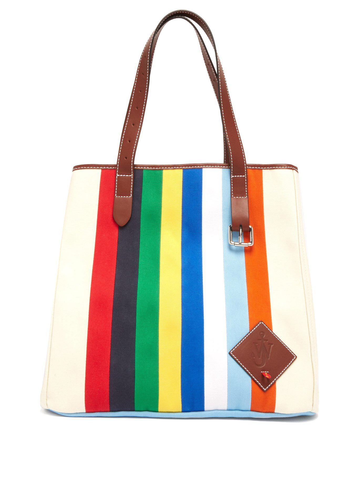 Lyst - JW Anderson Striped Canvas Tote Bag for Men f968b791db5d2