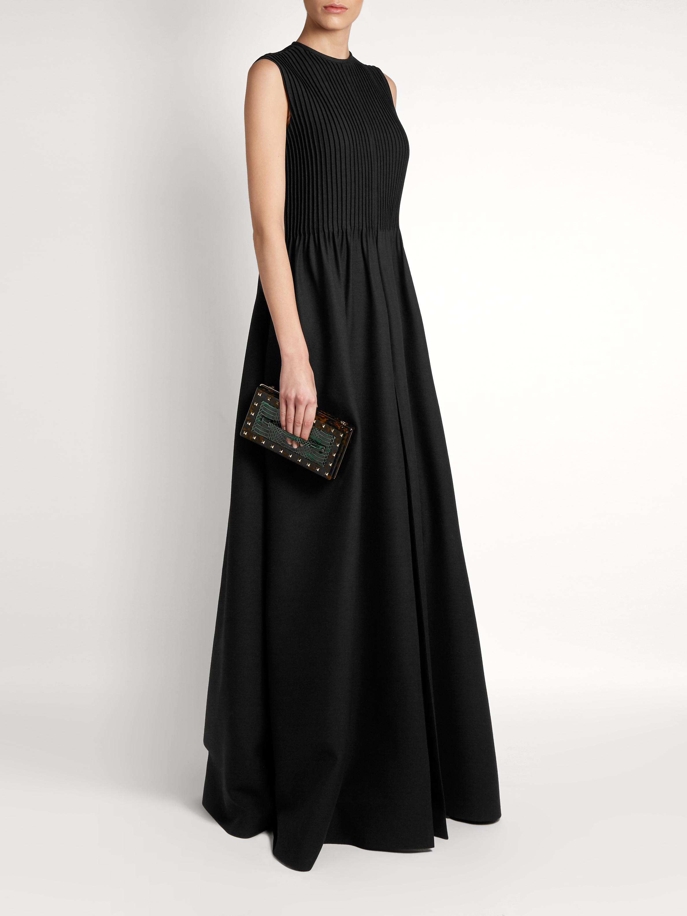 Valentino Pintuck-pleated Wool-blend Gown in Black | Lyst