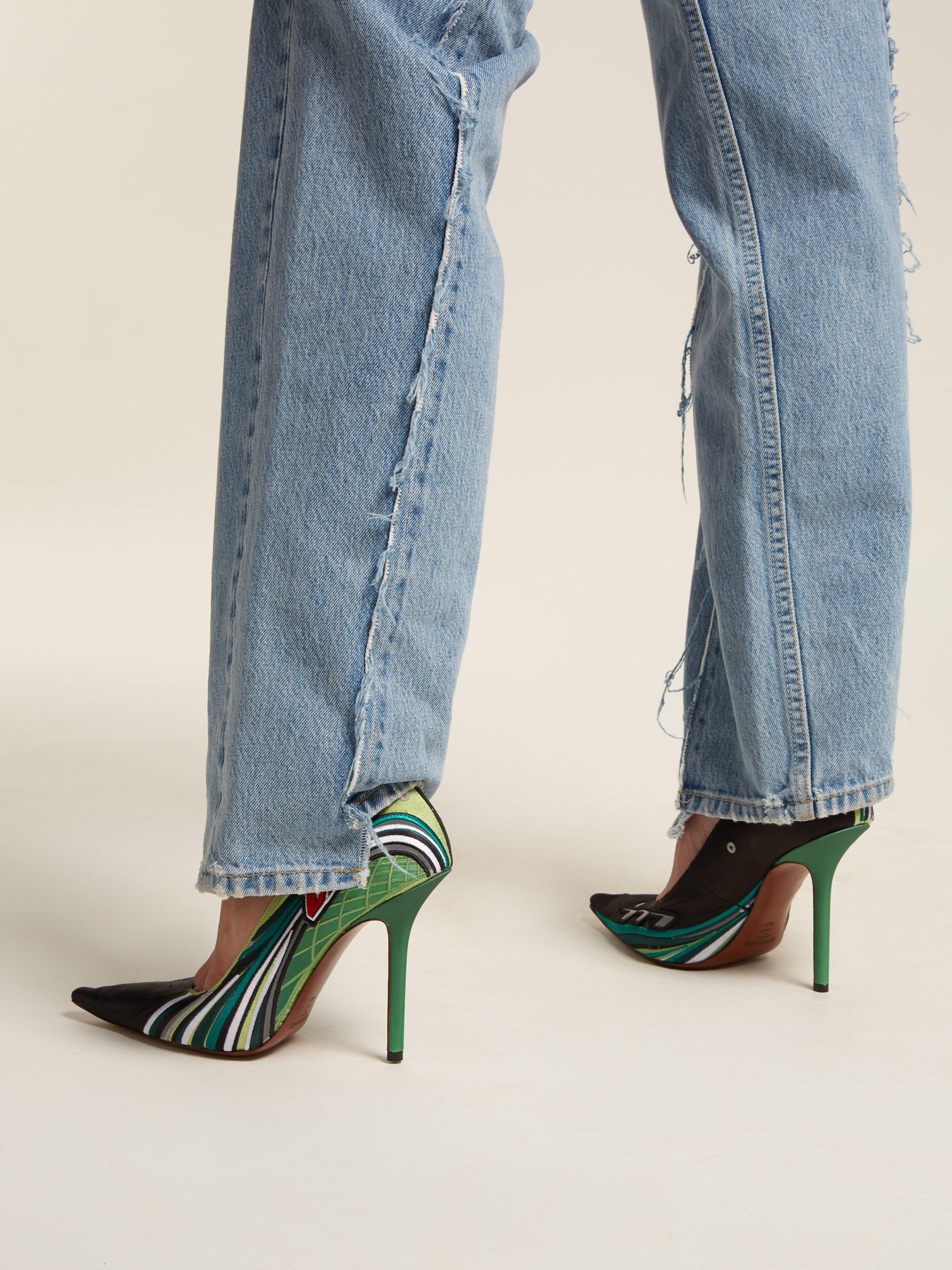 fc8d3a6bea3c Vetements - Green Racer Embroidered Point Toe Pumps - Lyst. View fullscreen