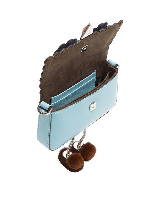 Fendi Micro Baguette Fur Embellished Cross Body Bag in Blue