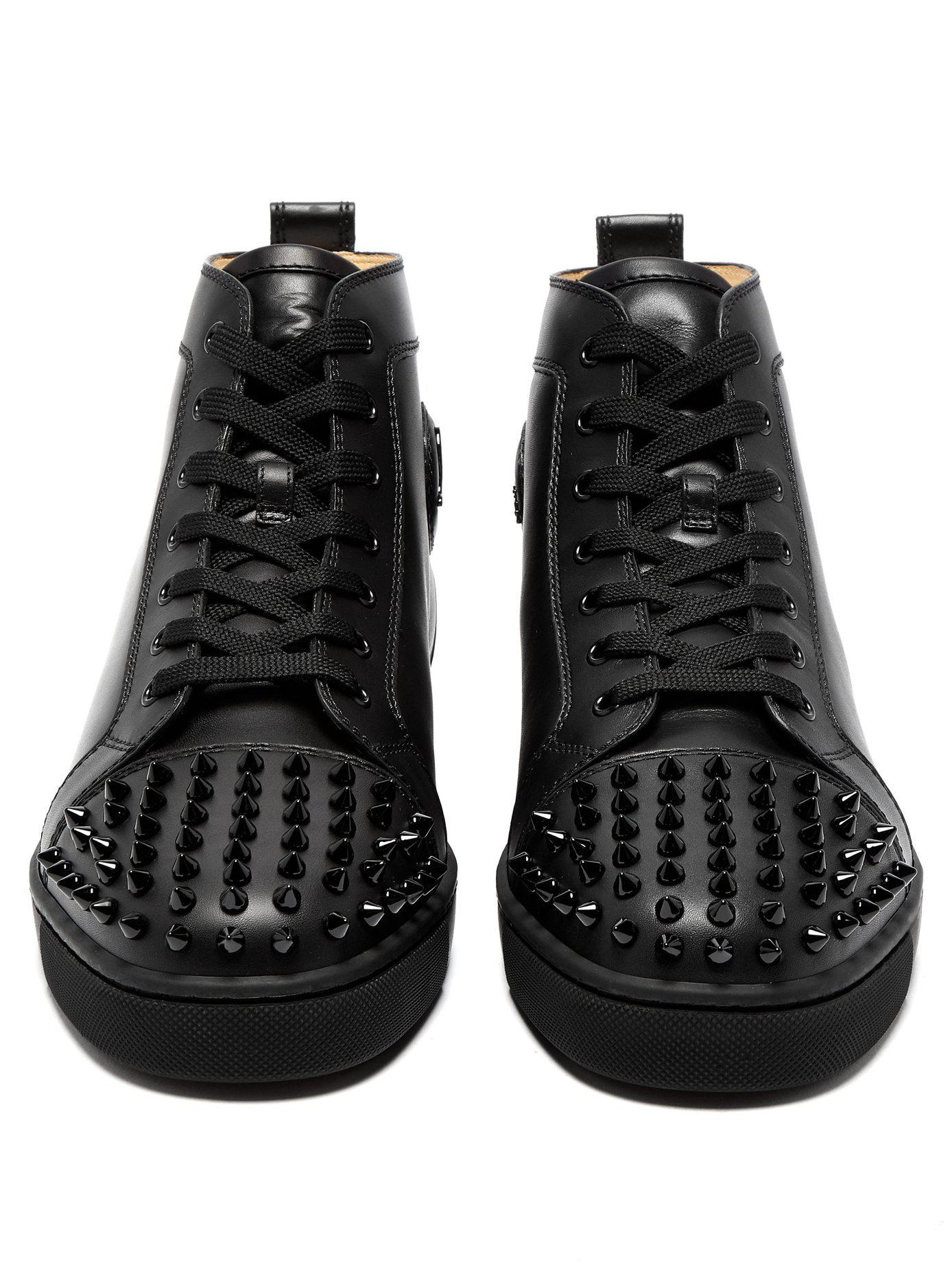 adb3aaaf8c47 Christian Louboutin - Black Lou Spike Embellished Leather High Top Trainers  for Men - Lyst. View fullscreen