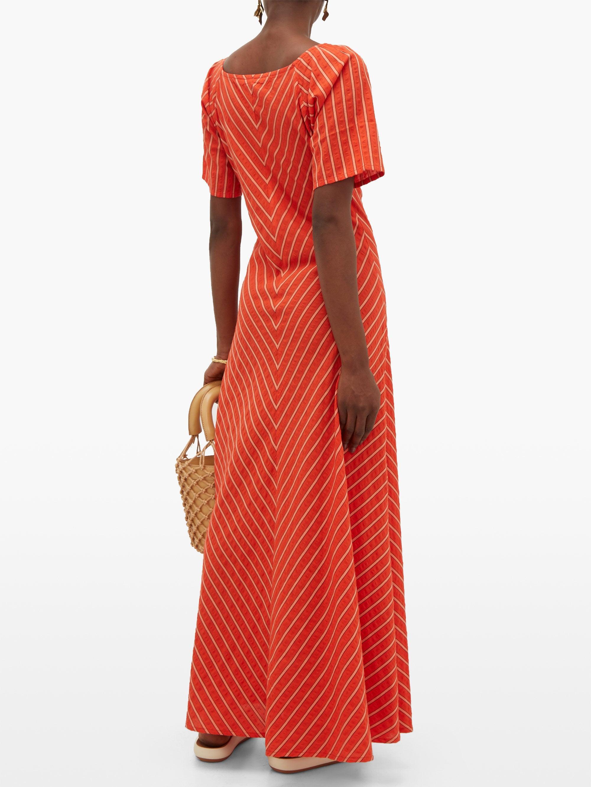 Robe longue à jacquard de coton rayé Jamie Coton Ace & Jig en coloris Rouge