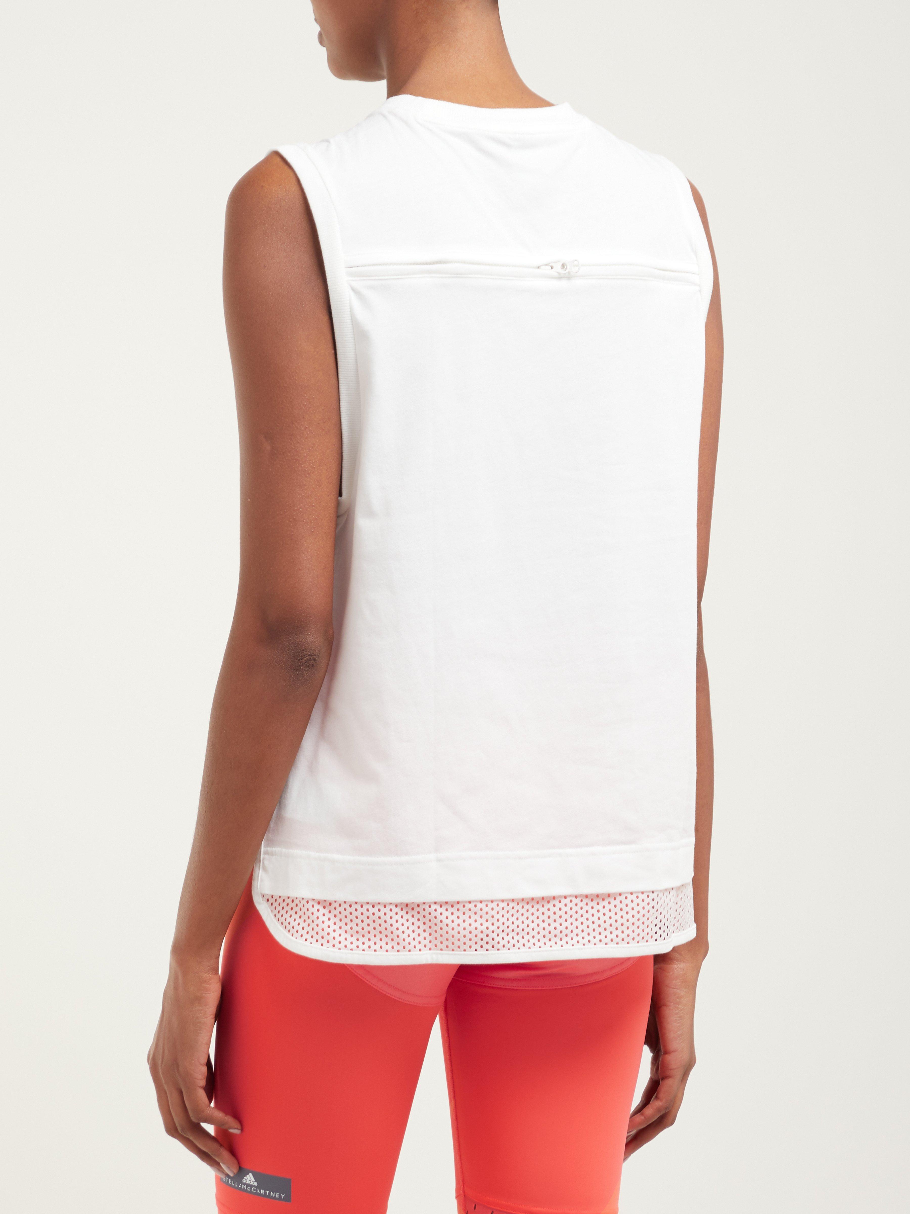 d1b319f55f2dd adidas By Stella McCartney Logo Print Cotton Blend Jersey Tank Top ...