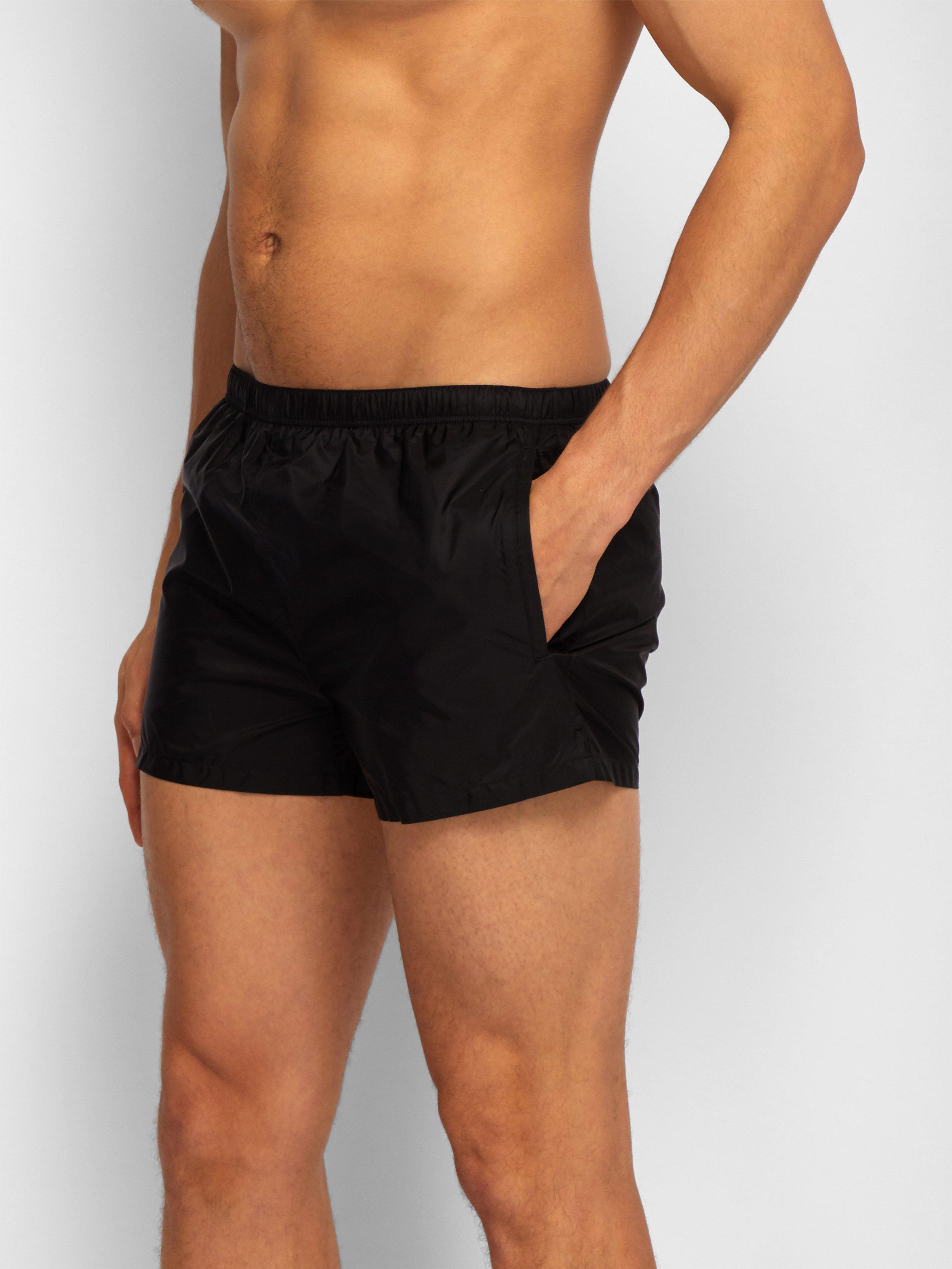 223dce1b3b Prada Elasticated Waist Nylon Swim Shorts in Black for Men - Lyst