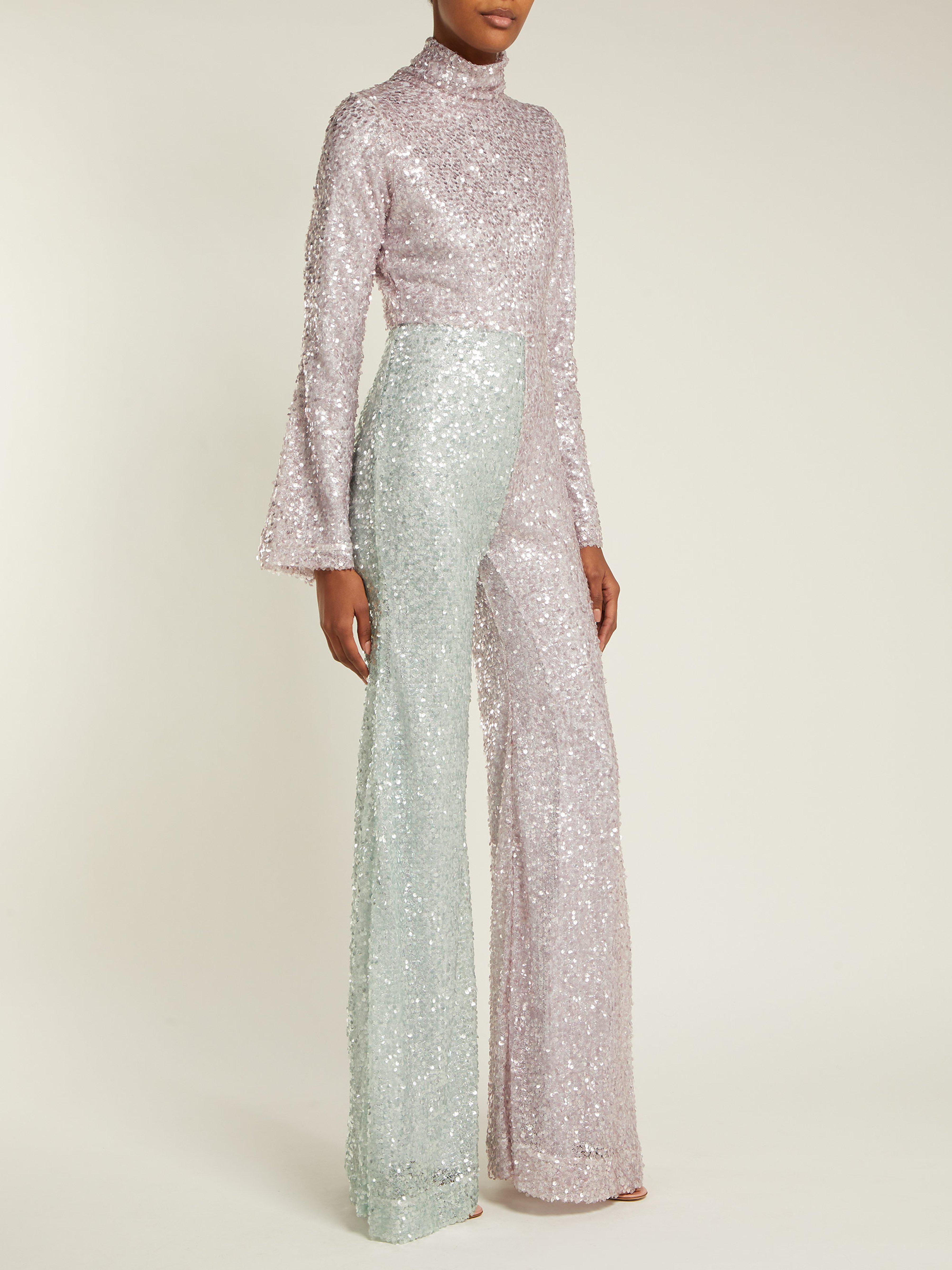 À Évasée Rose Coloris Sequins Femme De Combinaison 3A4S5jLqRc