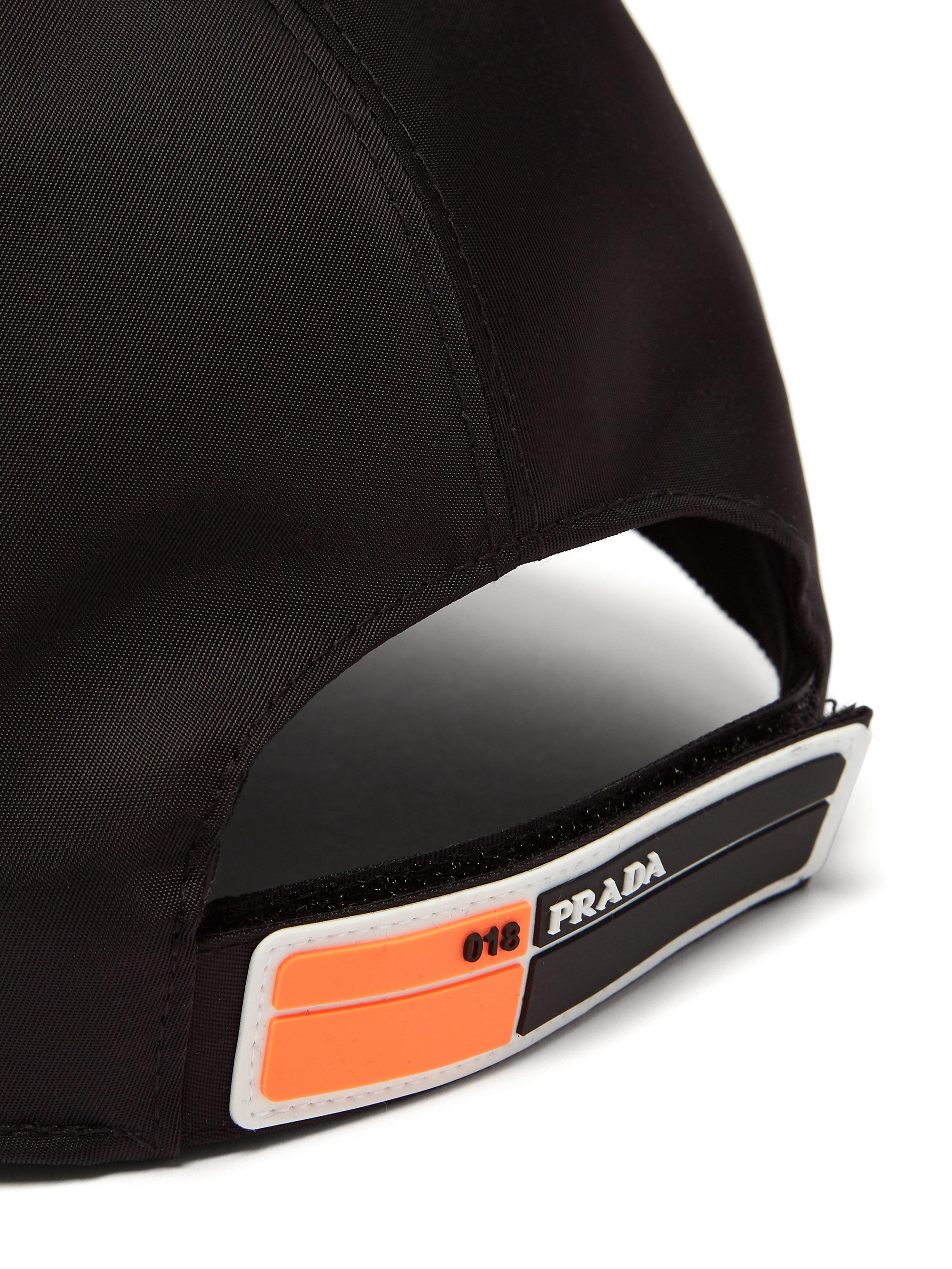 be3626d6fe7 Prada - Black Logo Appliqué Nylon Cap for Men - Lyst. View fullscreen