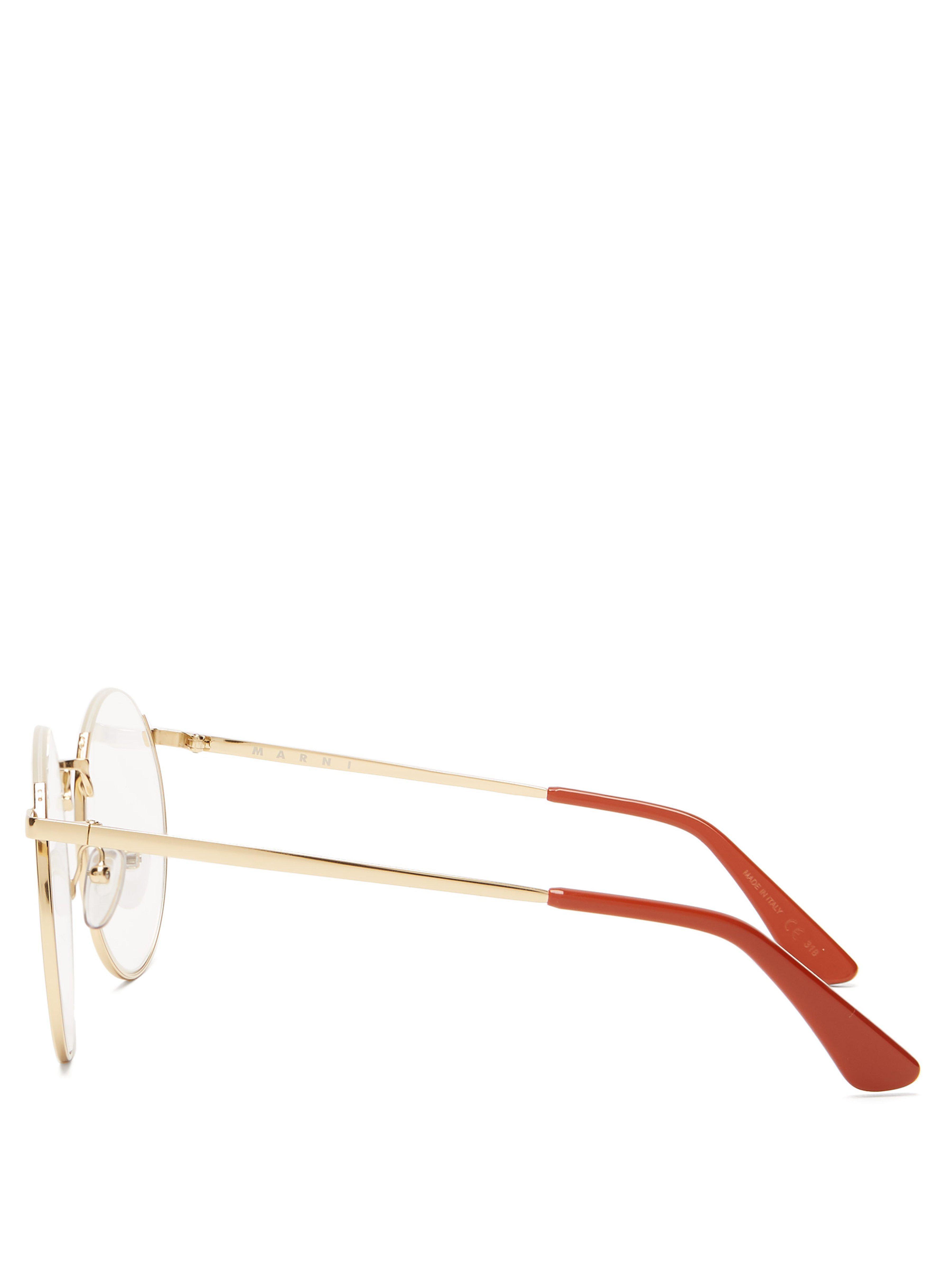 0ba994ca1b3 Marni - Metallic Oversized Round Frame Glasses - Lyst. View fullscreen
