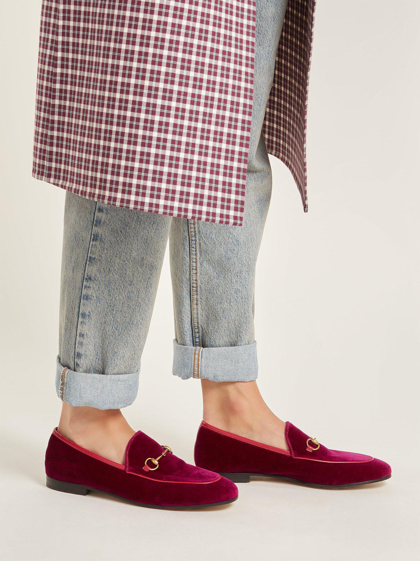 pink velvet gucci loafers