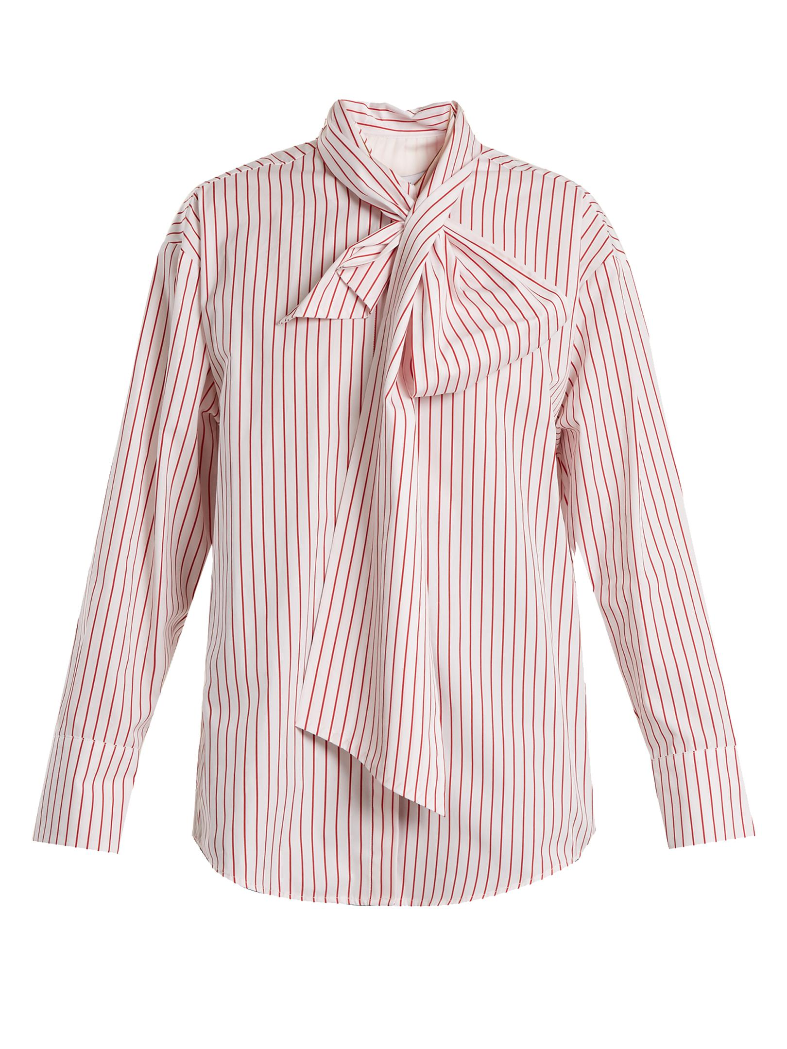 Lyst msgm striped tie neck cotton shirt in red for Striped tie with striped shirt