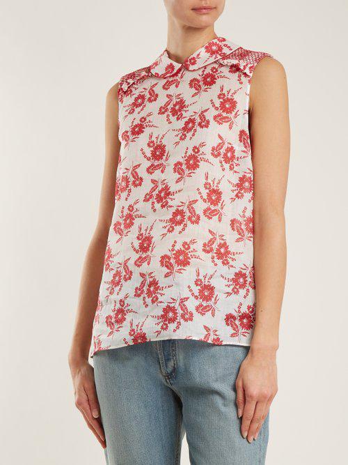 Miu Miu Satin Sleeveless Floral-print Gauze Top in Red Print (Red)