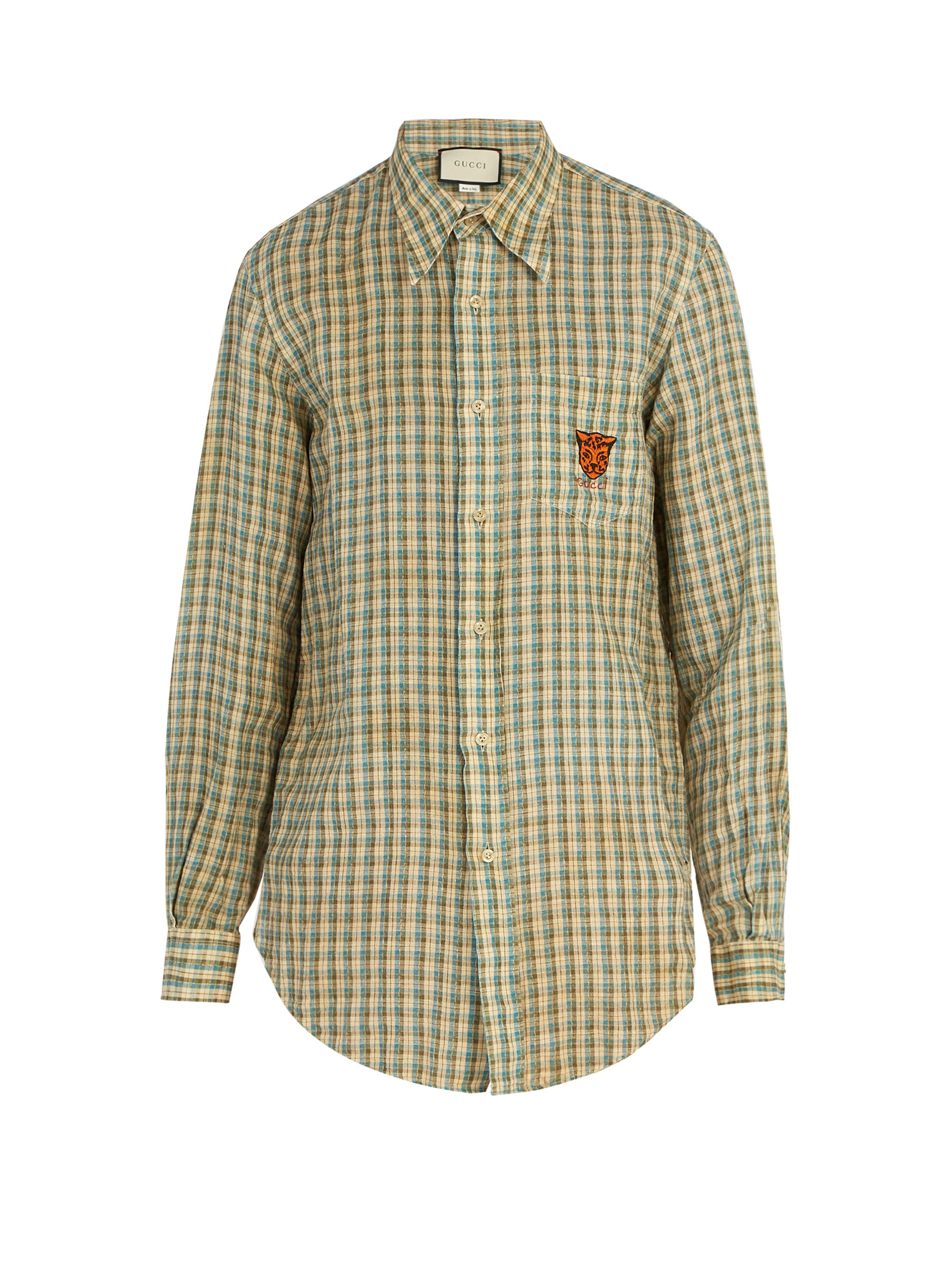 a47c32aa8 Gucci - Blue Embroidered Checked Linen Shirt for Men - Lyst. View fullscreen