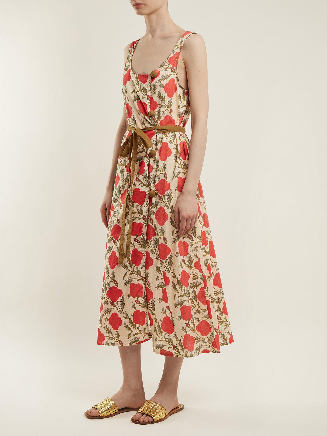 Rhode Charlie Tie Waist Cotton Dress In Red Lyst