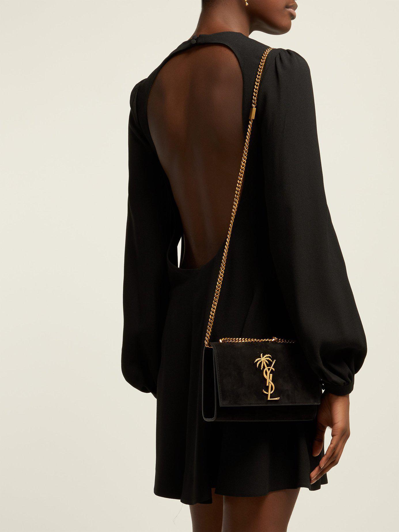 a4e43c3a8269 Saint Laurent - Black Small Kate Velvet Shoulder Bag - Lyst. View fullscreen