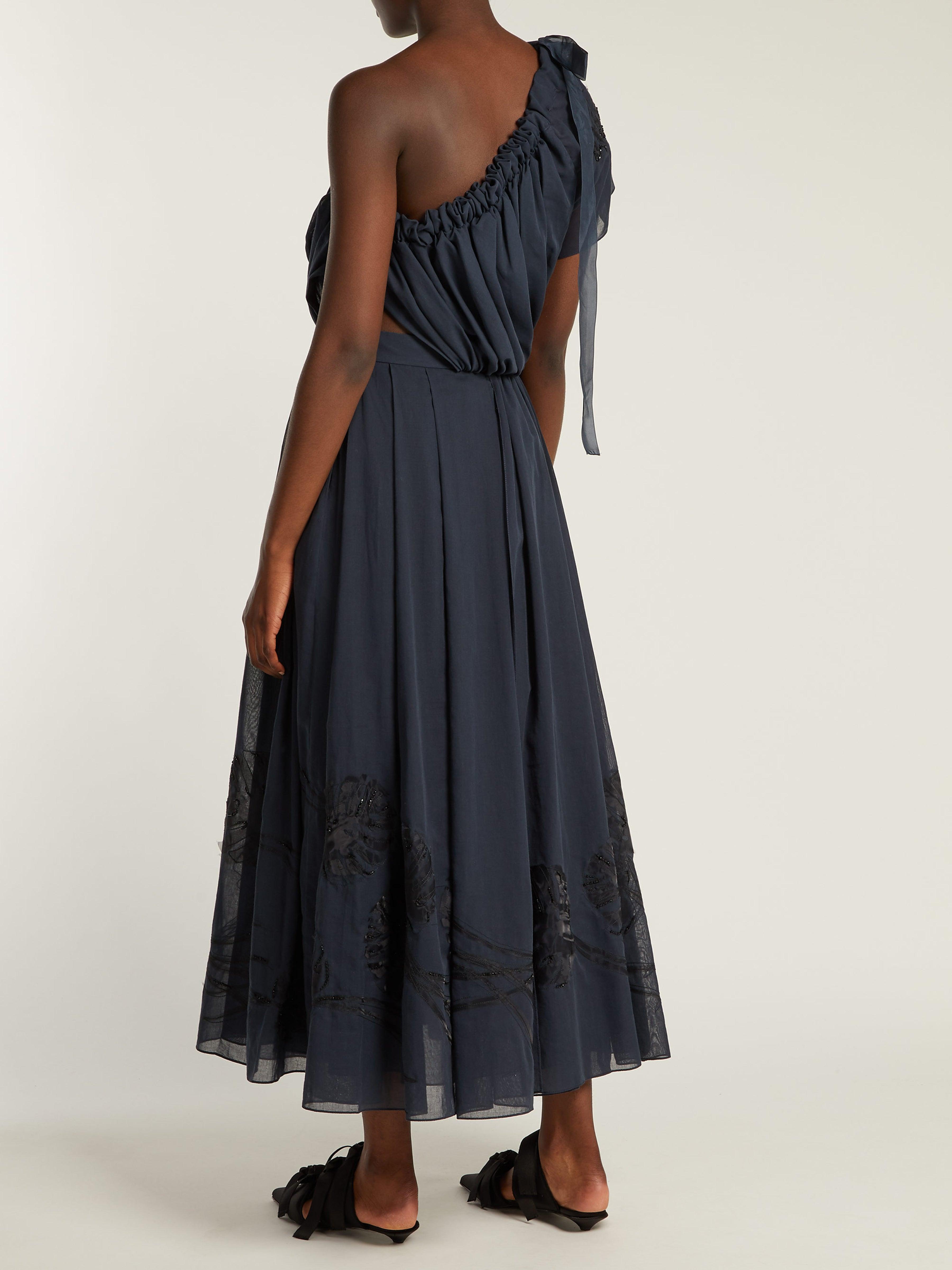Robe en voile de coton à appliqué en soie Soie Fendi en coloris Bleu