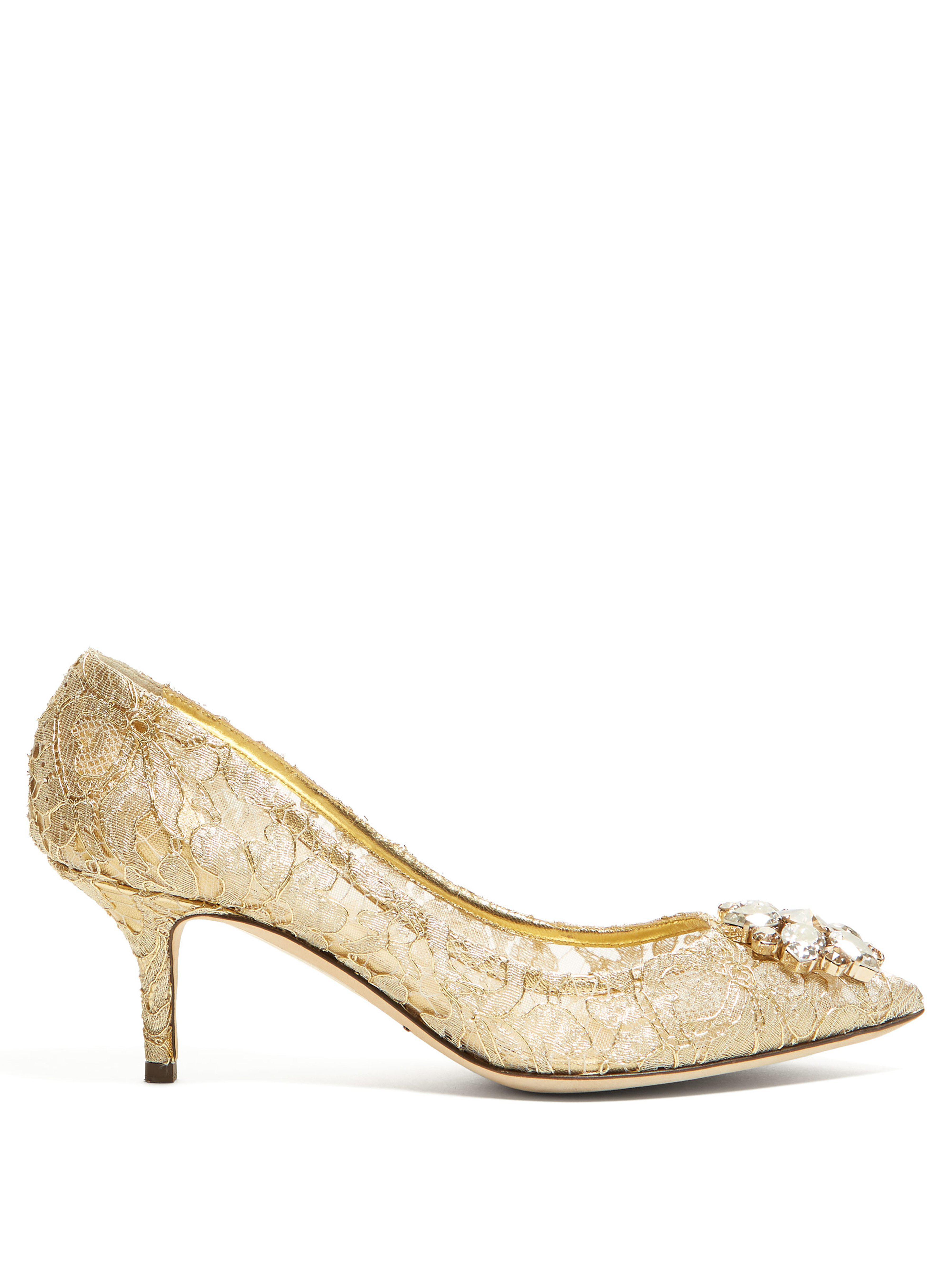 d6ce1af48092 Dolce   Gabbana. Women s Metallic Bellucci Crystal Embellished Lace Court  Shoes