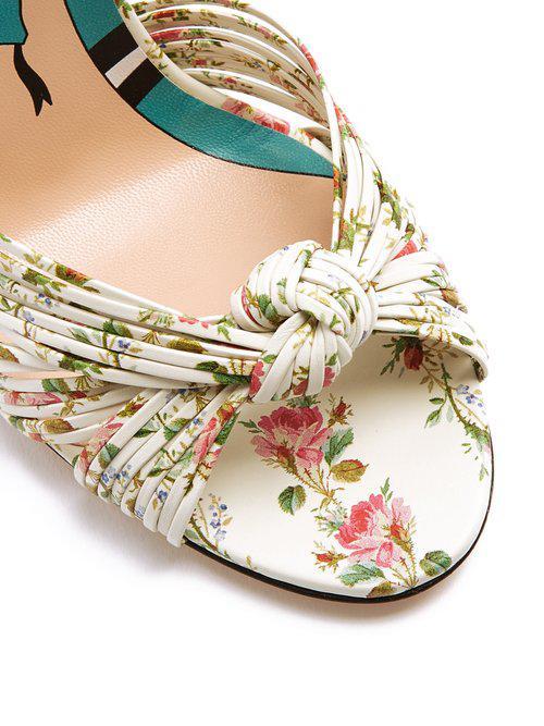 0079fd1d8 Gucci Allie Rose-print Leather Sandals - Lyst
