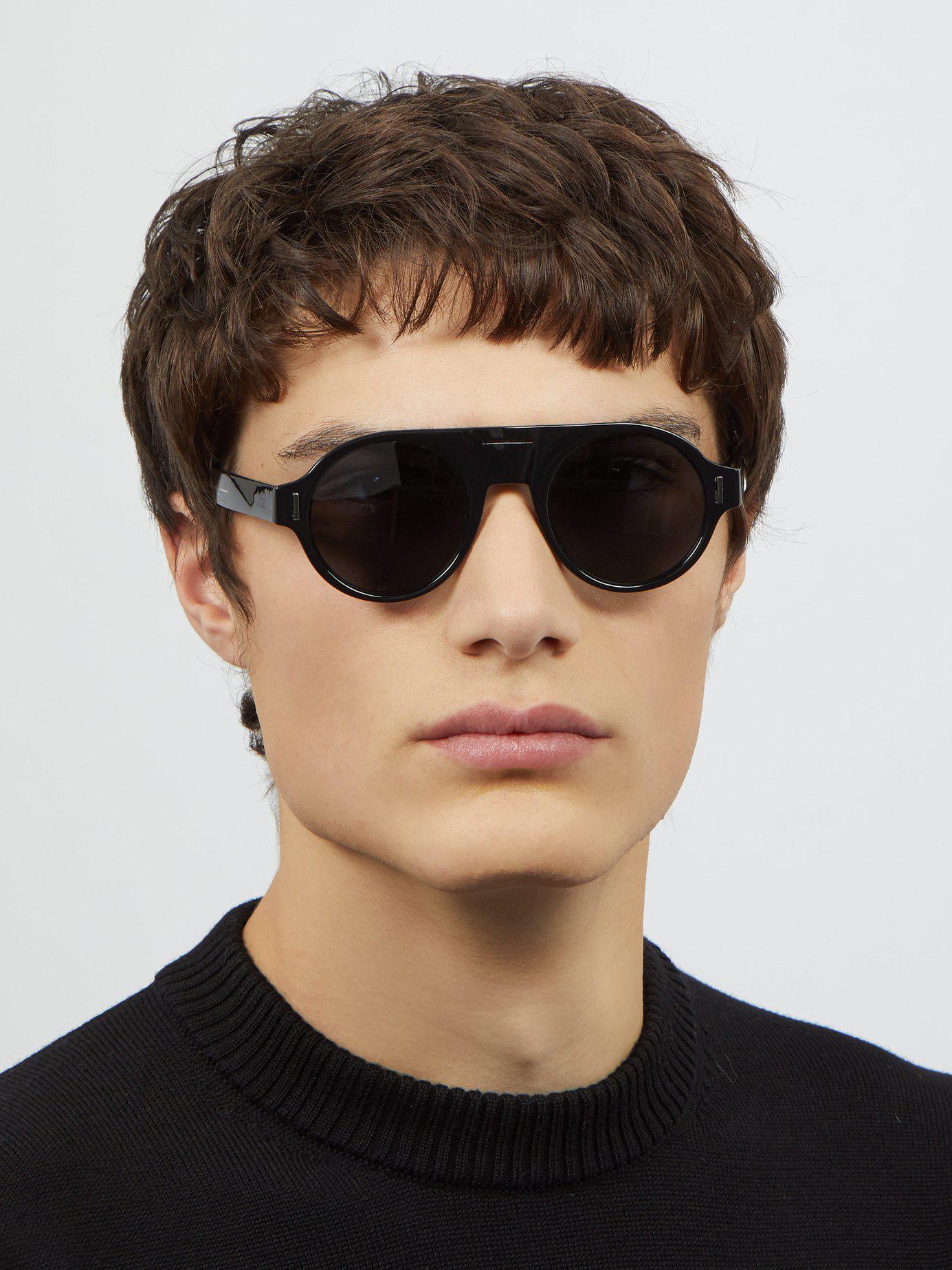 005d9d12528 Dior Homme - Black Diorfraction2 Round Frame Acetate Sunglasses for Men -  Lyst. View fullscreen