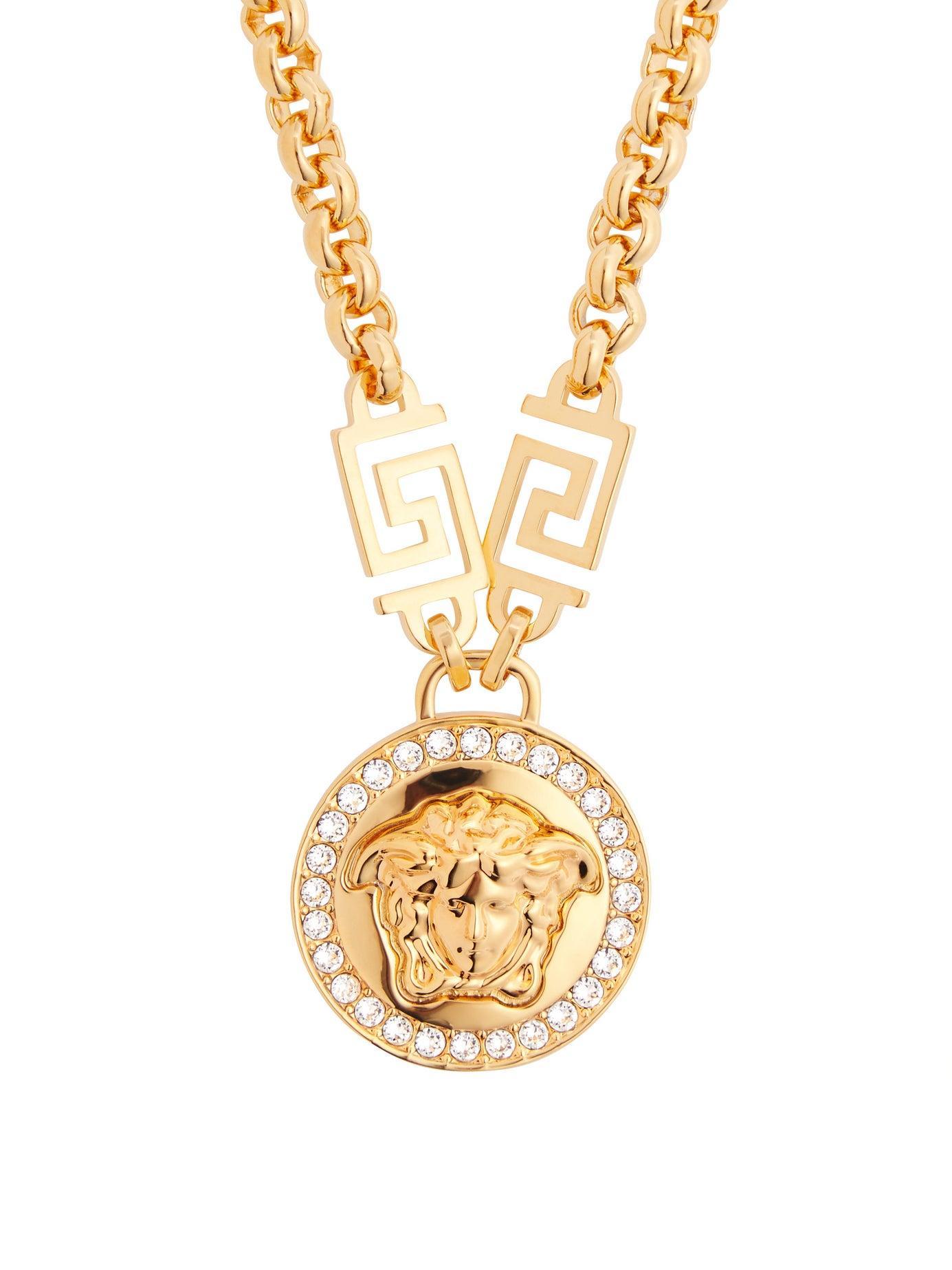 eecb0eb82c015 Women's Metallic Crystal Medusa Head Greca Chain Necklace