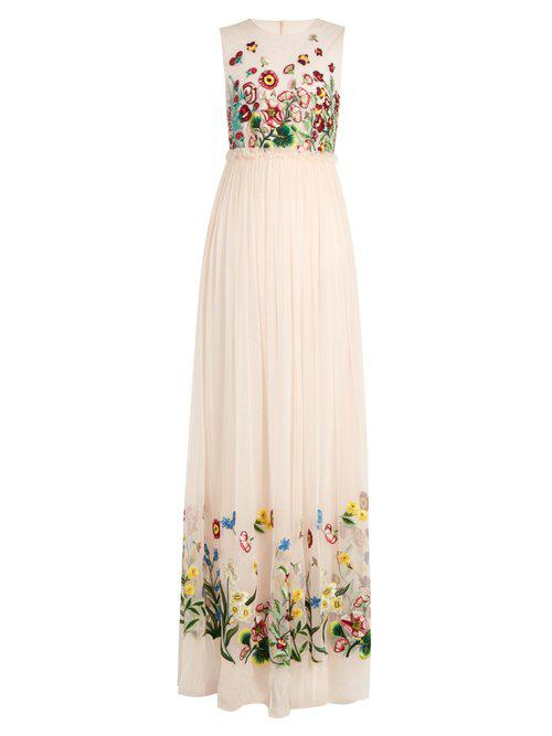 Floral-embroidered tulle gown Andrew Gn ok4fbU