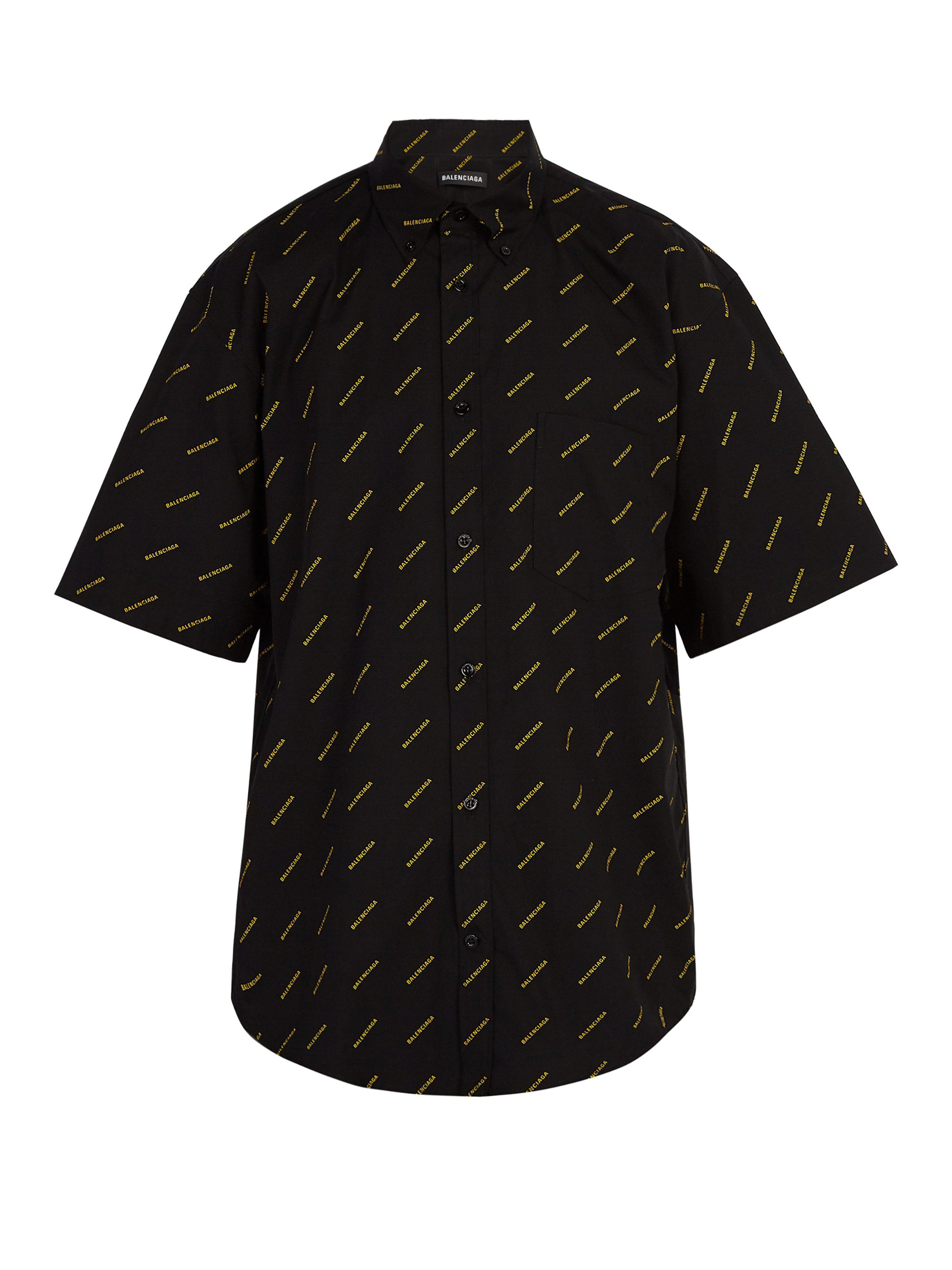 Balenciaga - Black Chemise à manches courtes et imprimé logo for Men - Lyst.  Afficher en plein écran fa5cdf76990