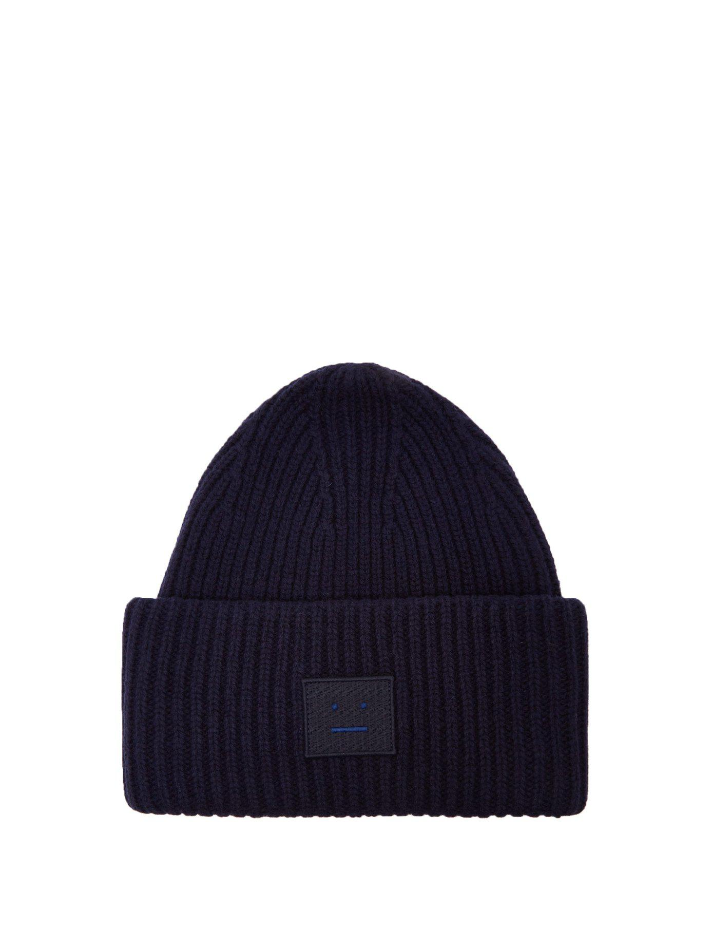 73a4bba21993b5 Acne Studios. Women's Blue Pansy S Face Ribbed-knit Beanie Hat