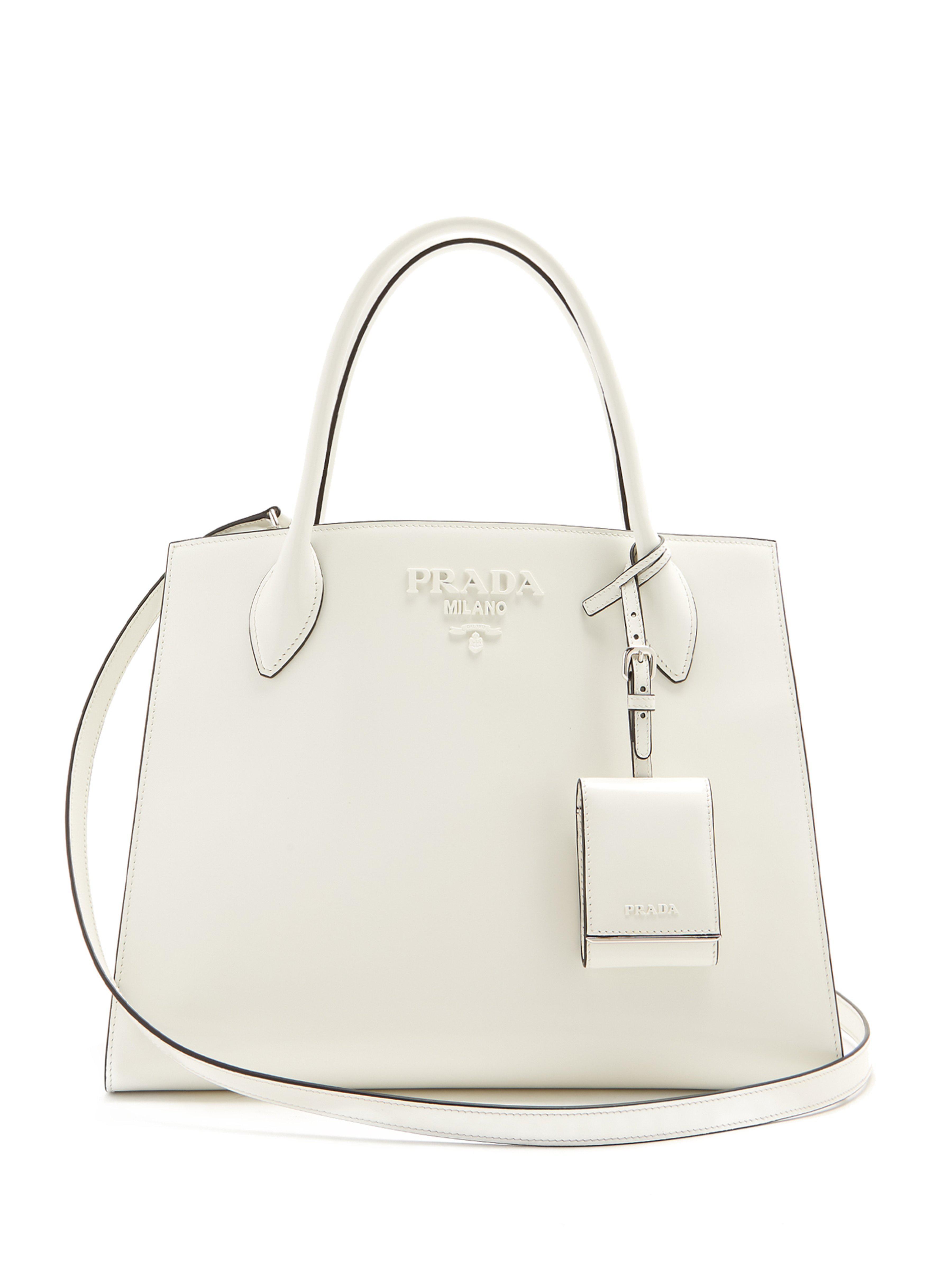 6fef026bc25b Prada Monochrome Medium Leather Bag in White - Lyst