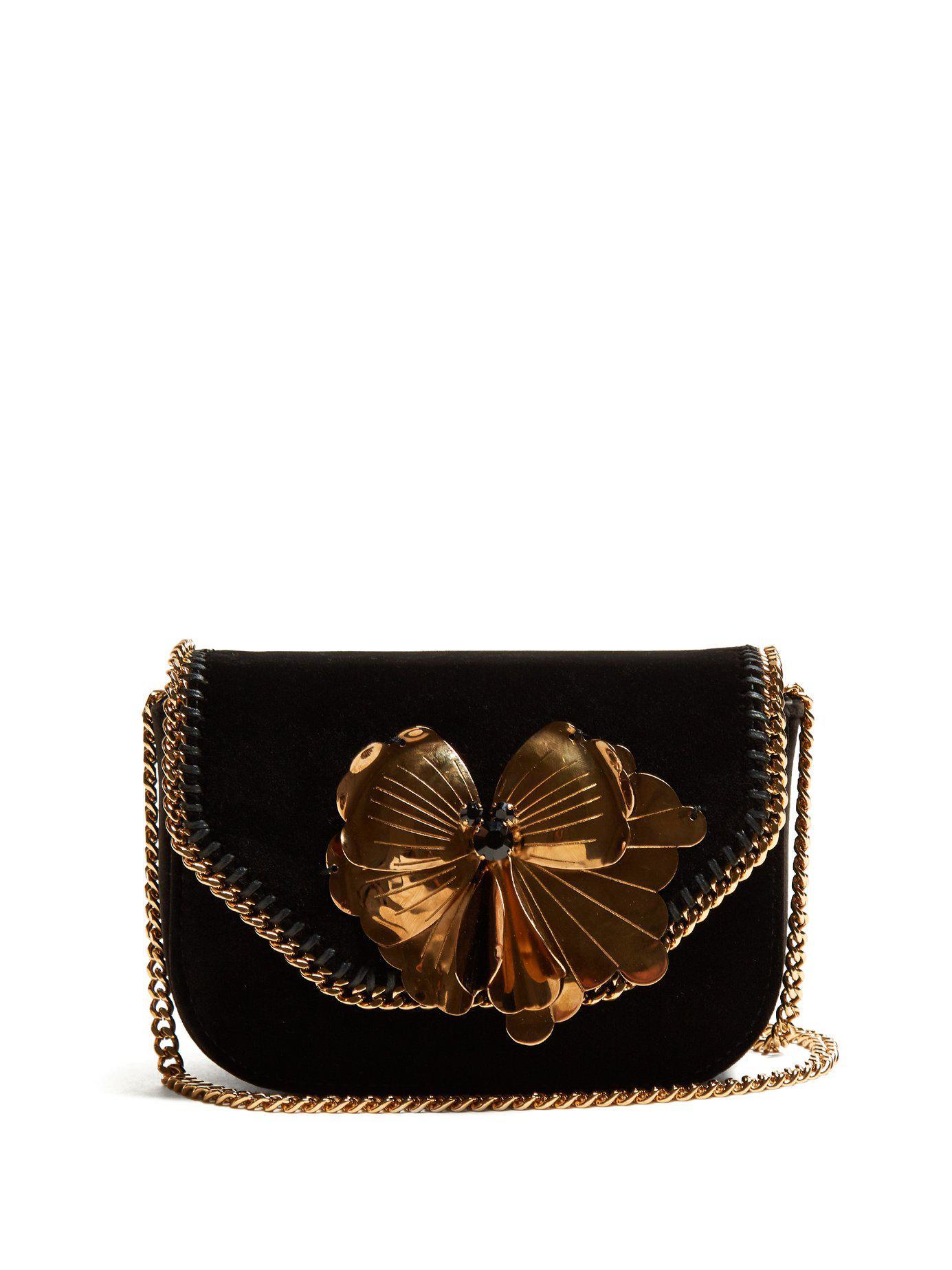 Stella McCartney. Women s Black Falabella Box Mini Velvet Cross Body Bag 0e40a35d61b36