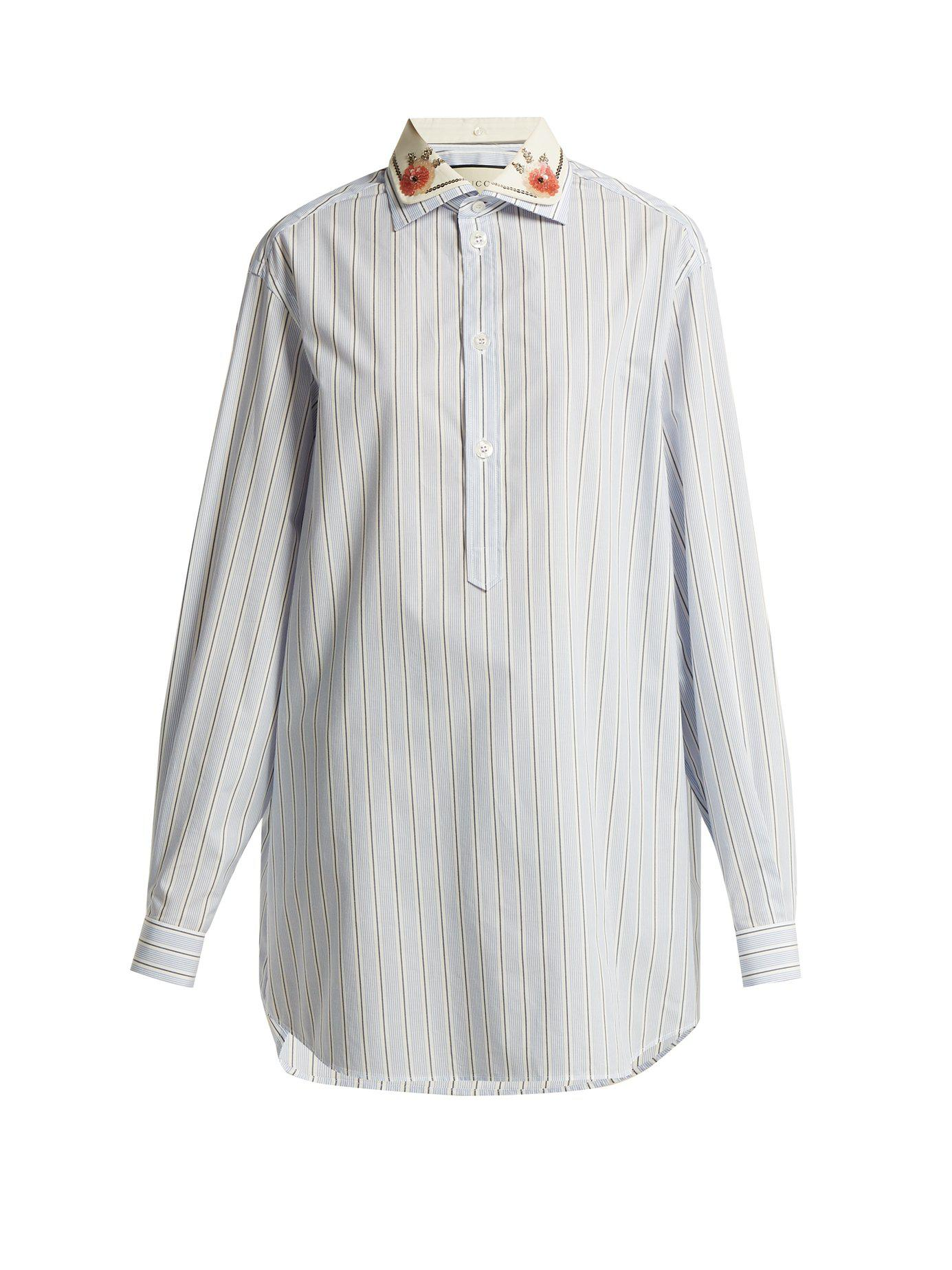 0c852c2b Lyst - Gucci Double Collar Striped Cotton Shirt in Blue