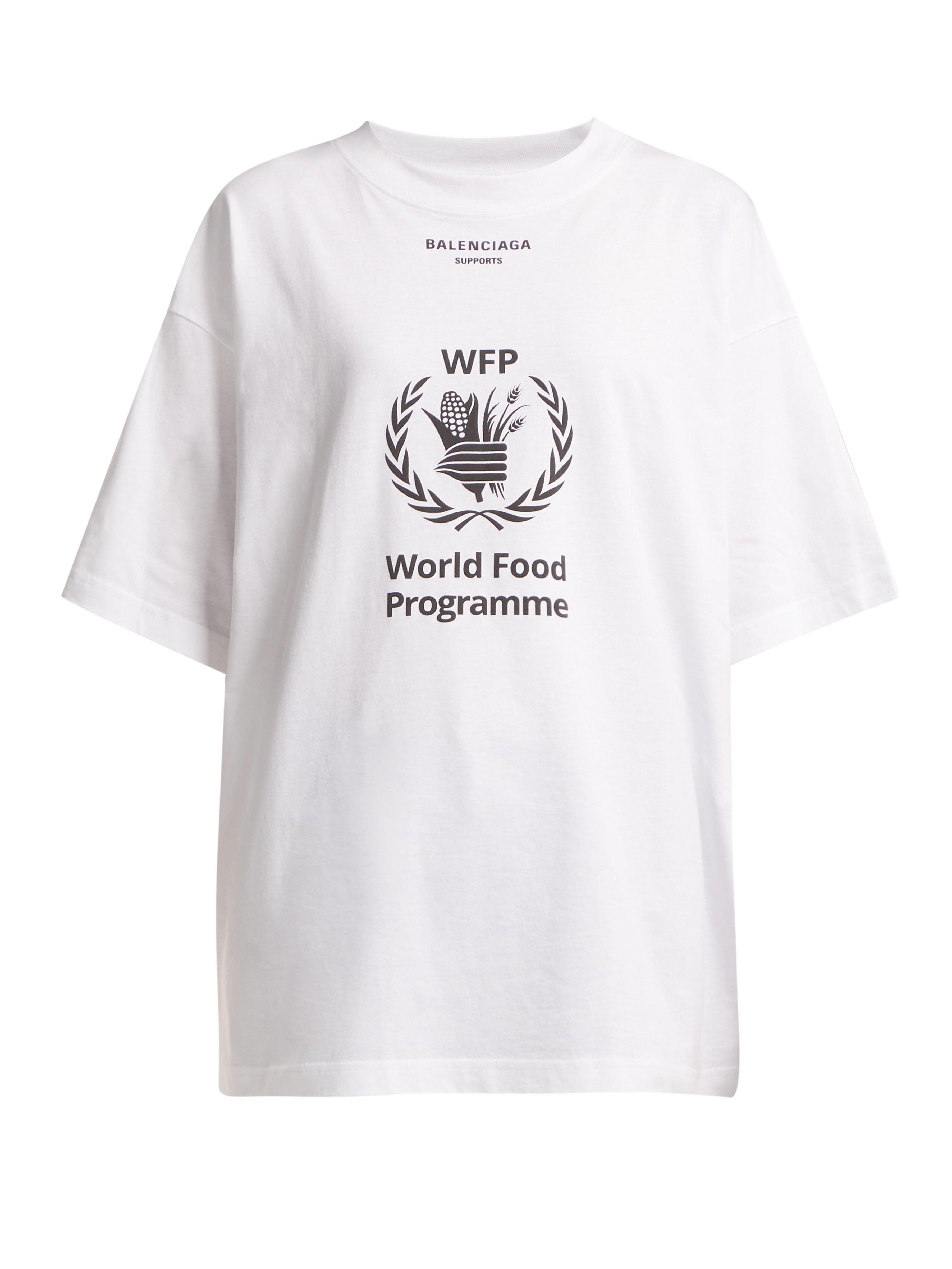 86f19c5438e2e3 Balenciaga Logo Print Cotton Jersey T Shirt in White - Lyst