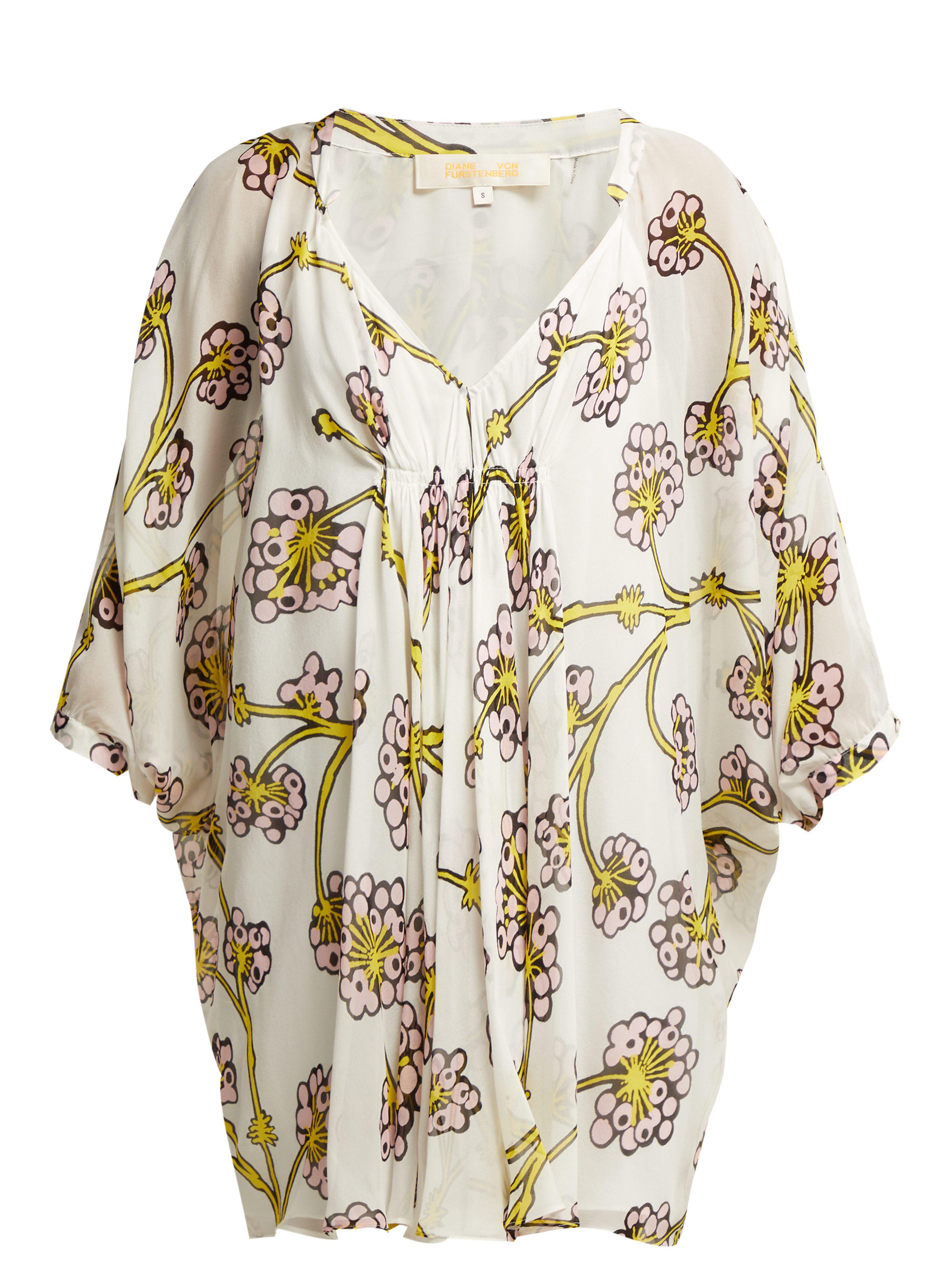 2ad675791fa19 Diane von Furstenberg. Women's Fleurette Dragon Berry Printed Silk Dress