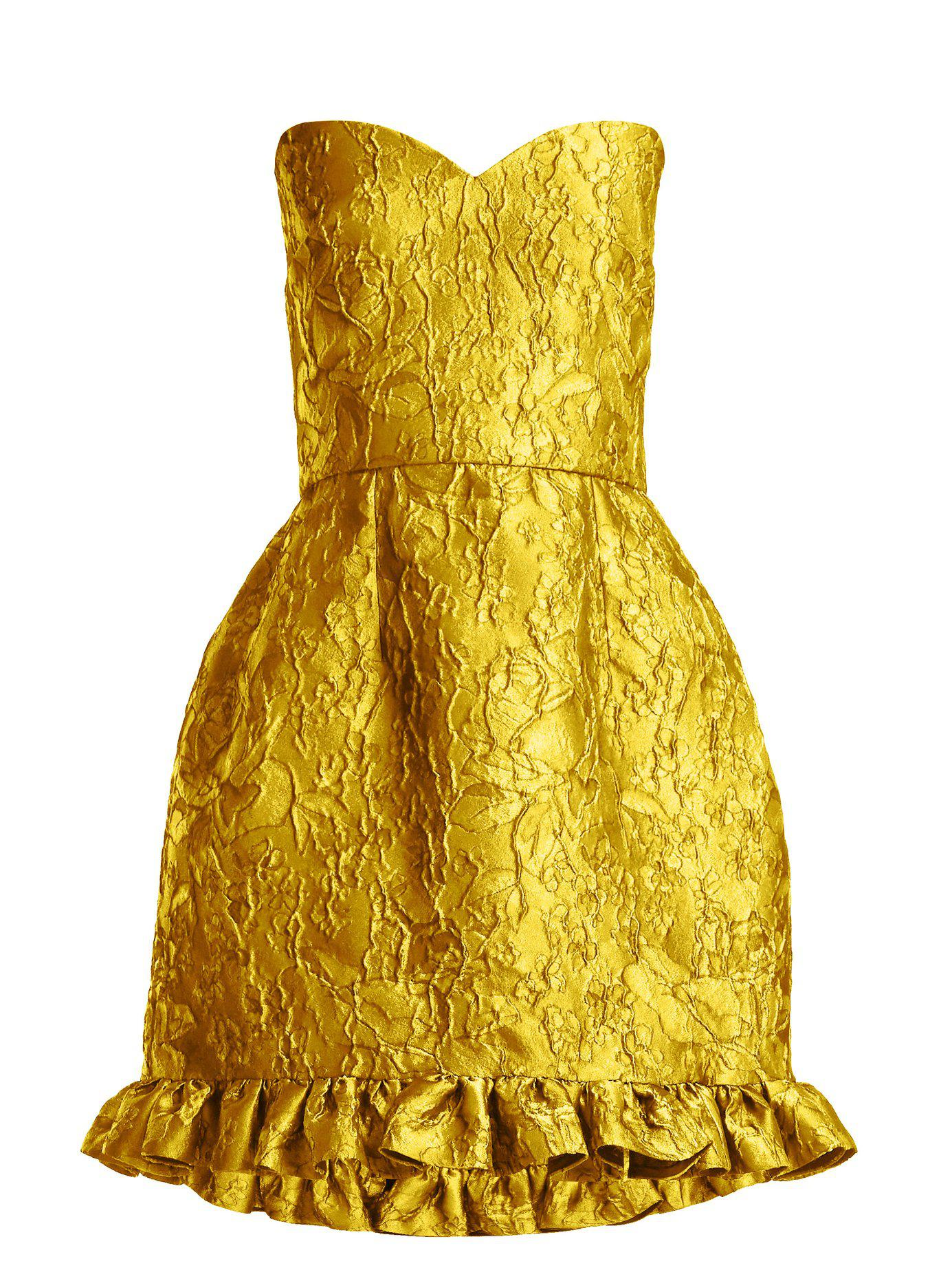 b0b2c53430c0 Emilio de la Morena. Women's Yellow Golde Floral Jacquard Strapless Mini  Dress