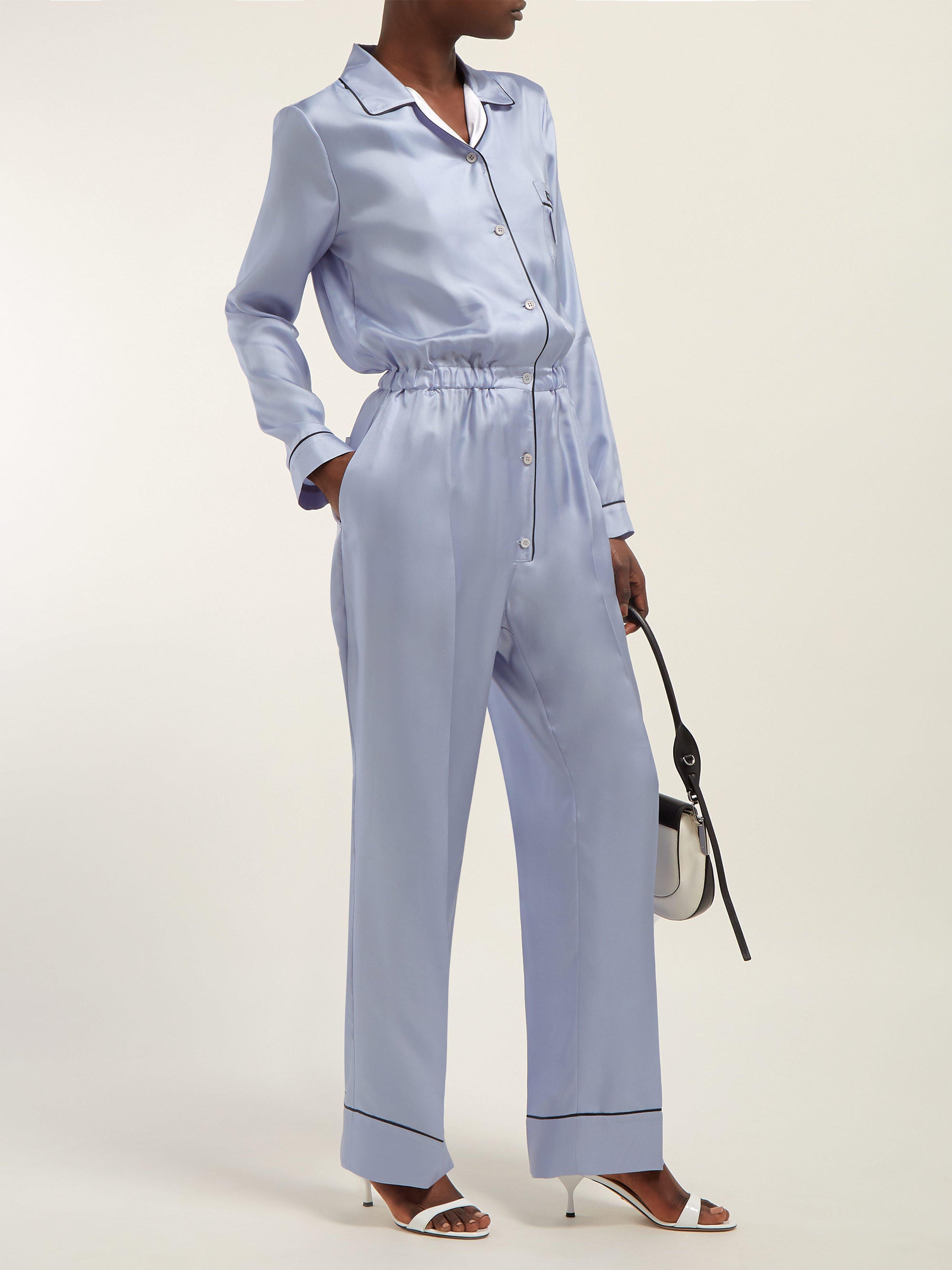 330fadcfe5b4 Prada Silk-twill Jumpsuit in Blue - Lyst