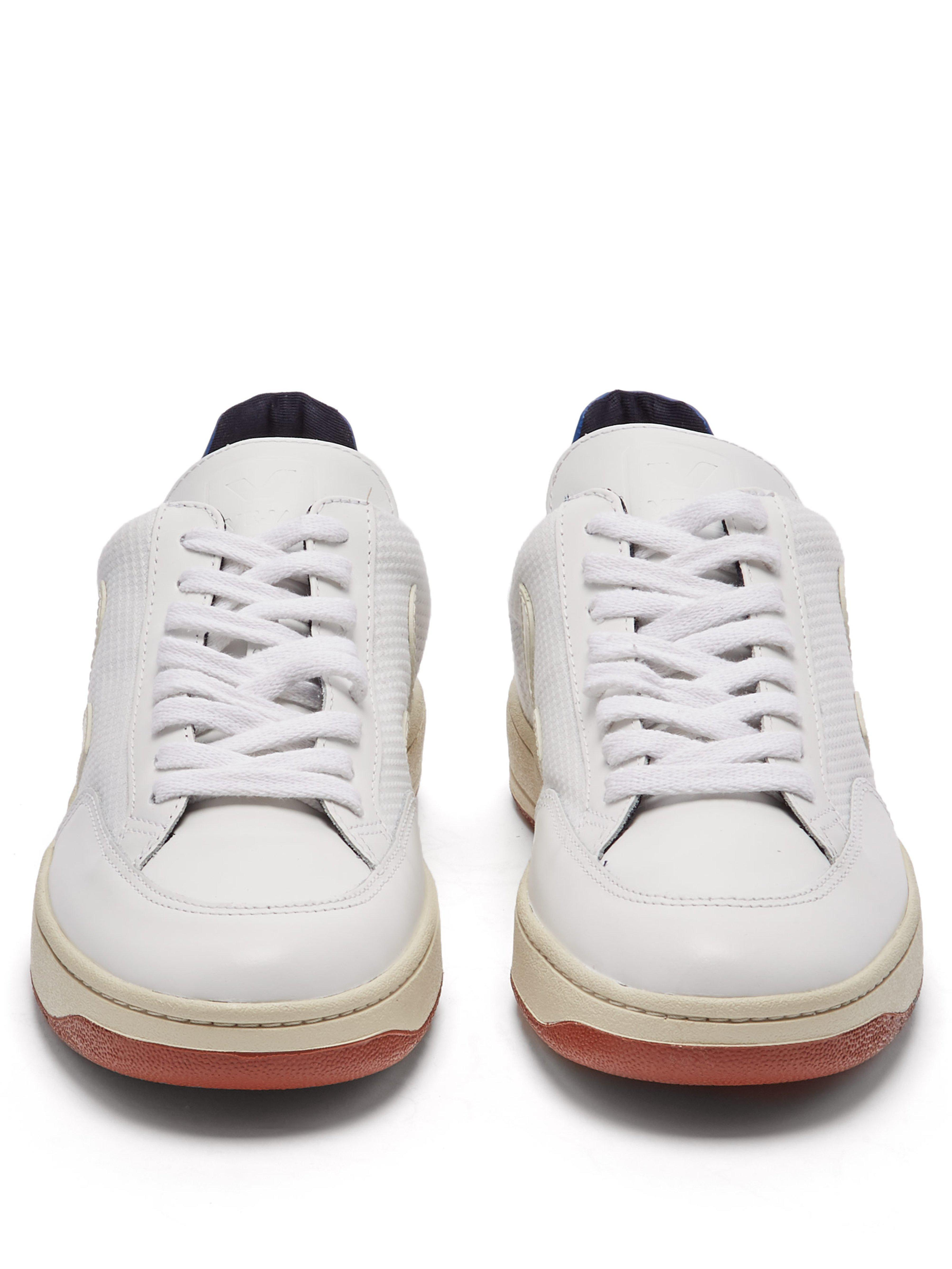 27229dc7edfd2e Veja V-12 Low-top Leather And Mesh Trainers in White - Lyst