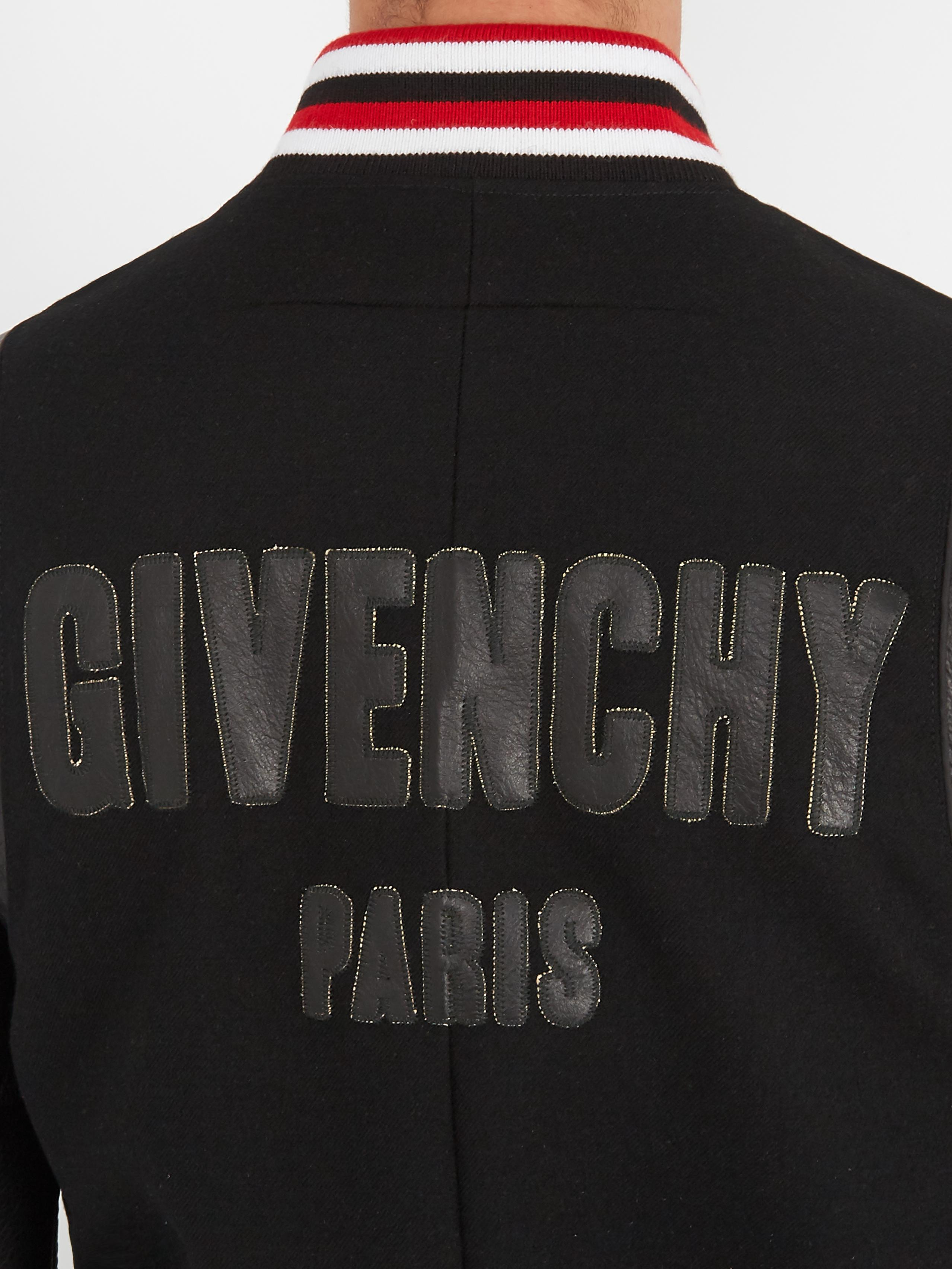 f9b6314dd Givenchy Black Logo-appliqué Leather And Wool Bomber Jacket for men