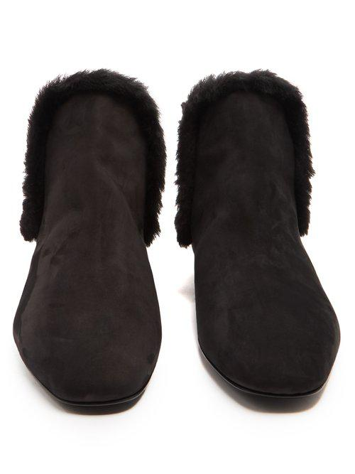 The Row Leather Eros Nubuck Ankle Boots in Black