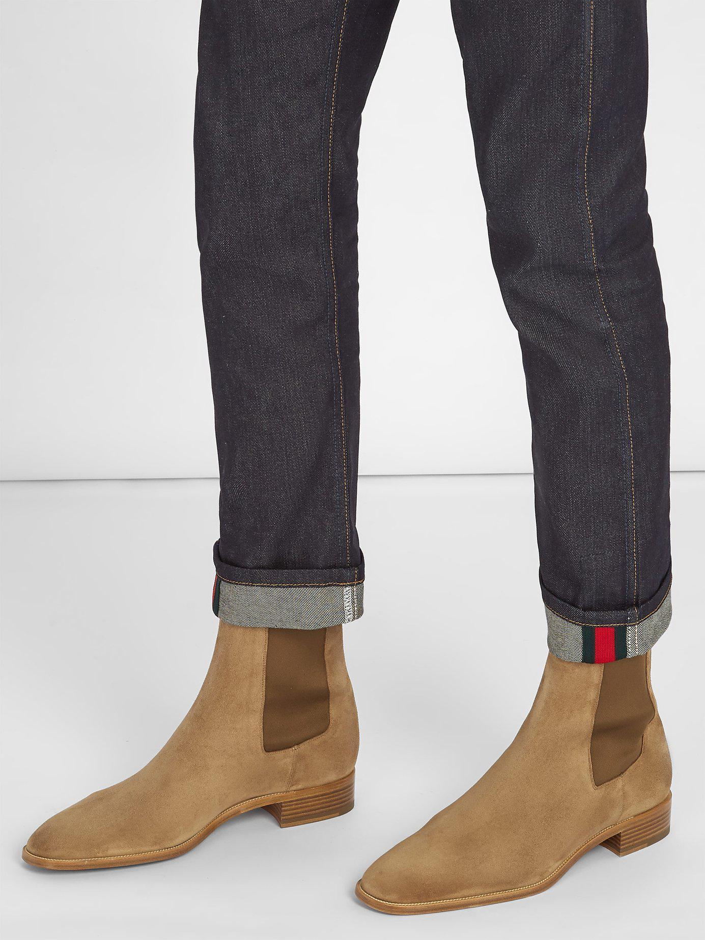 bb9e405aeaf Christian Louboutin Natural Samson Suede Chelsea Boots for men