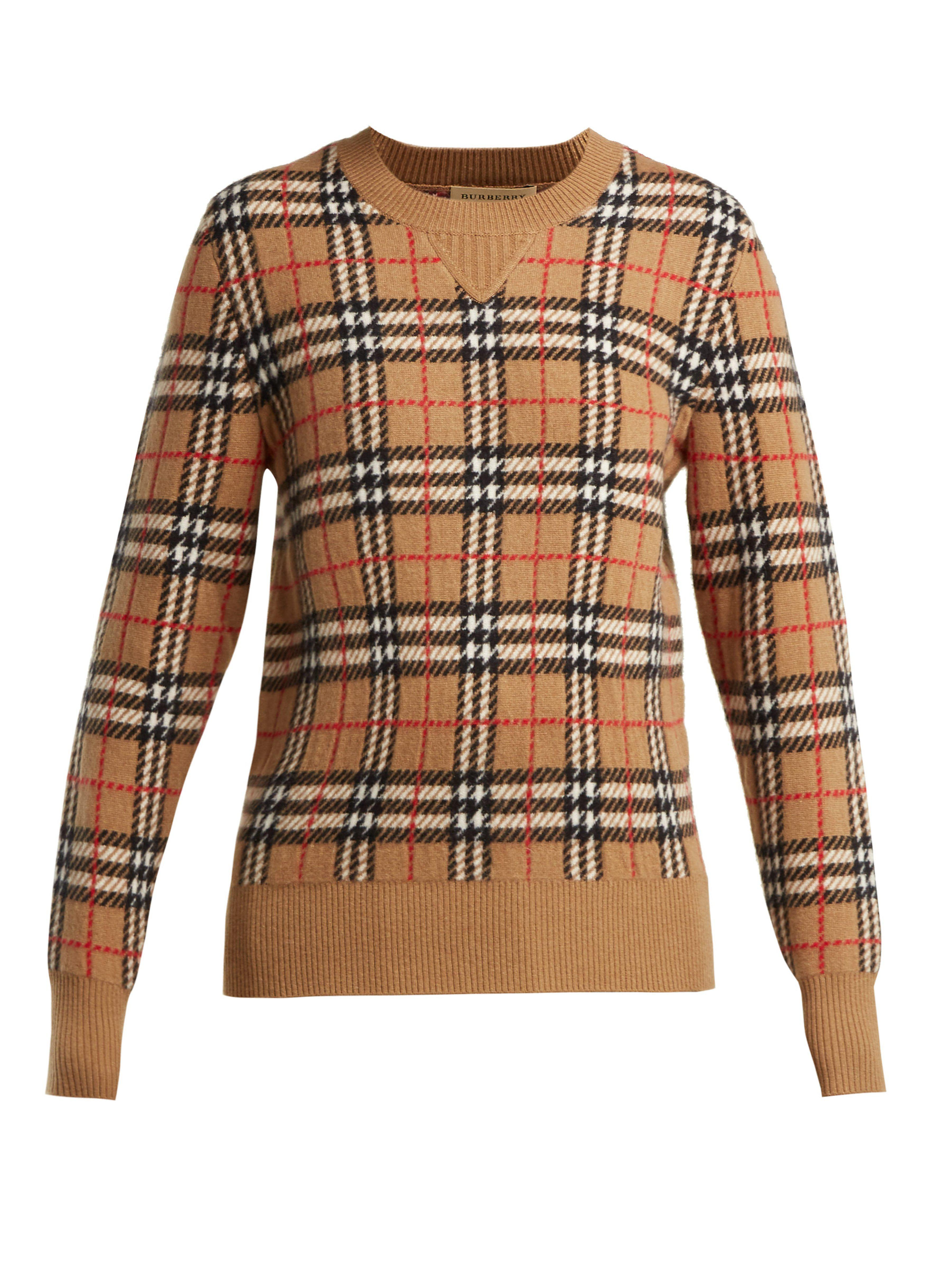 15e20c4e04ceb3 Burberry - Natural Banbury Vintage Check Cashmere Sweater - Lyst. View  fullscreen