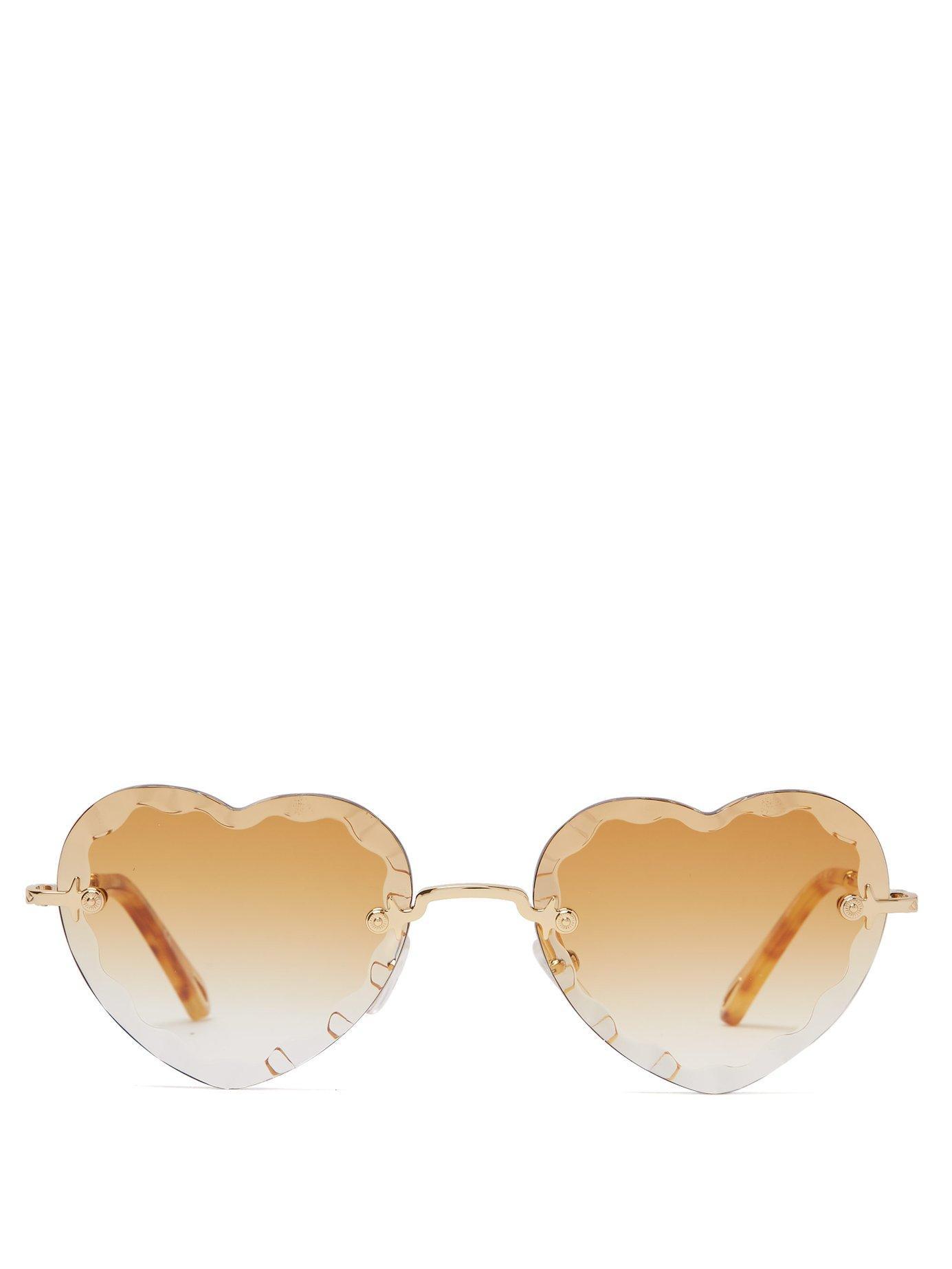137e514d096 Chloé - Metallic Rosie Heart Shaped Metal Sunglasses - Lyst. View fullscreen