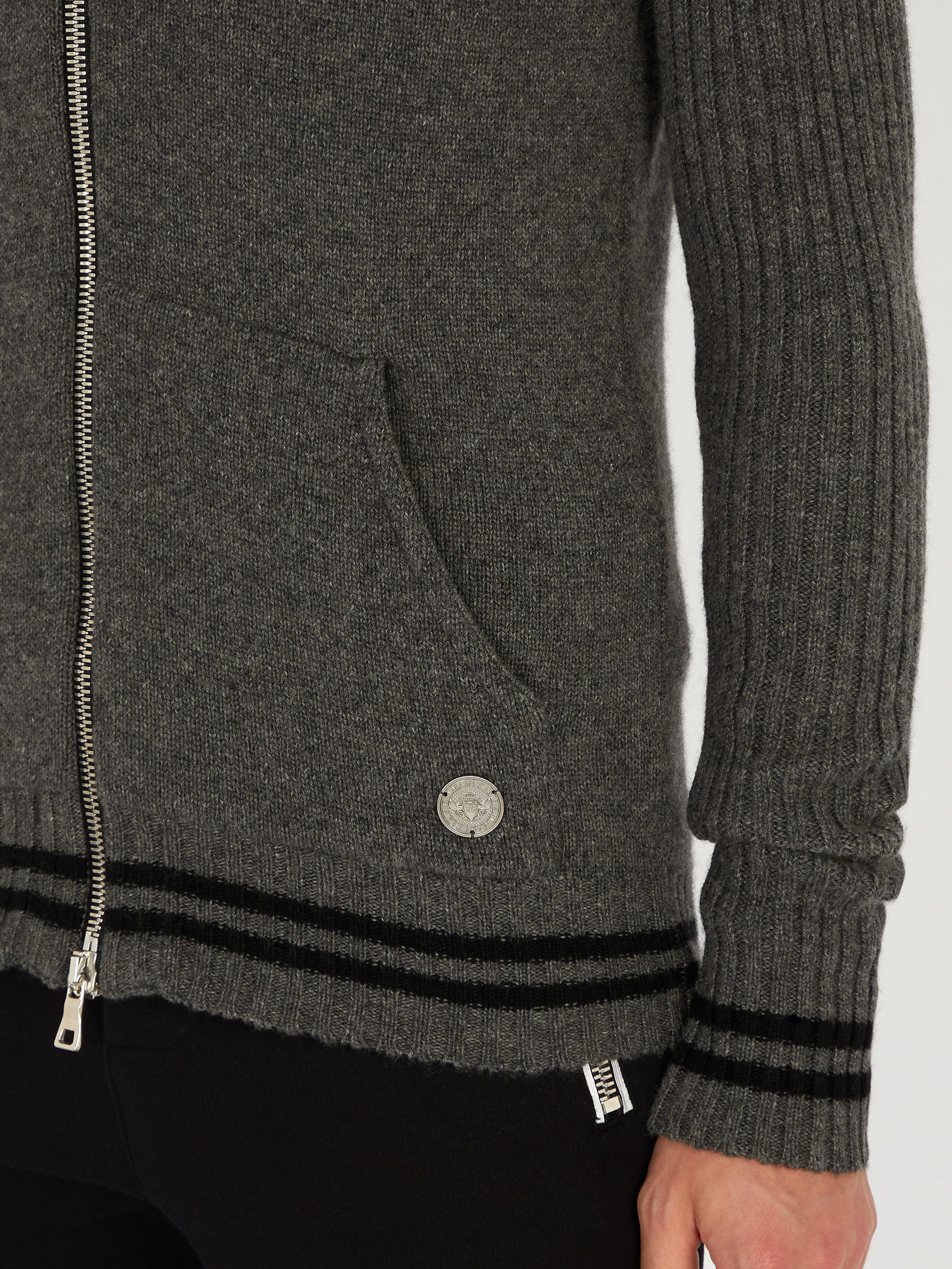 Balmain Zip-through Cashmere Sweater in Light Grey (Grey) for Men