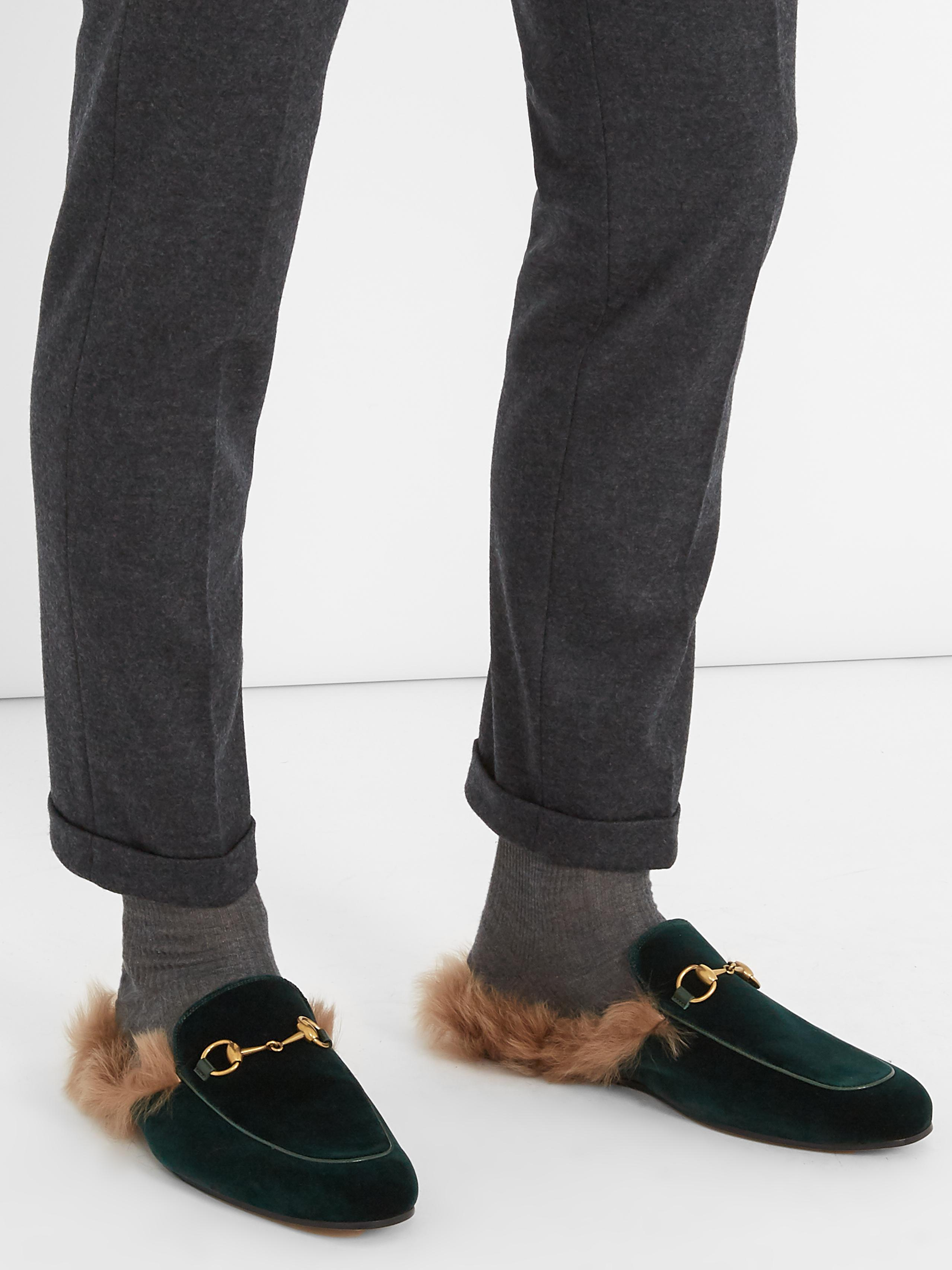 f9d535cfc Gucci Princetown Fur-lined Velvet Loafers for Men - Lyst