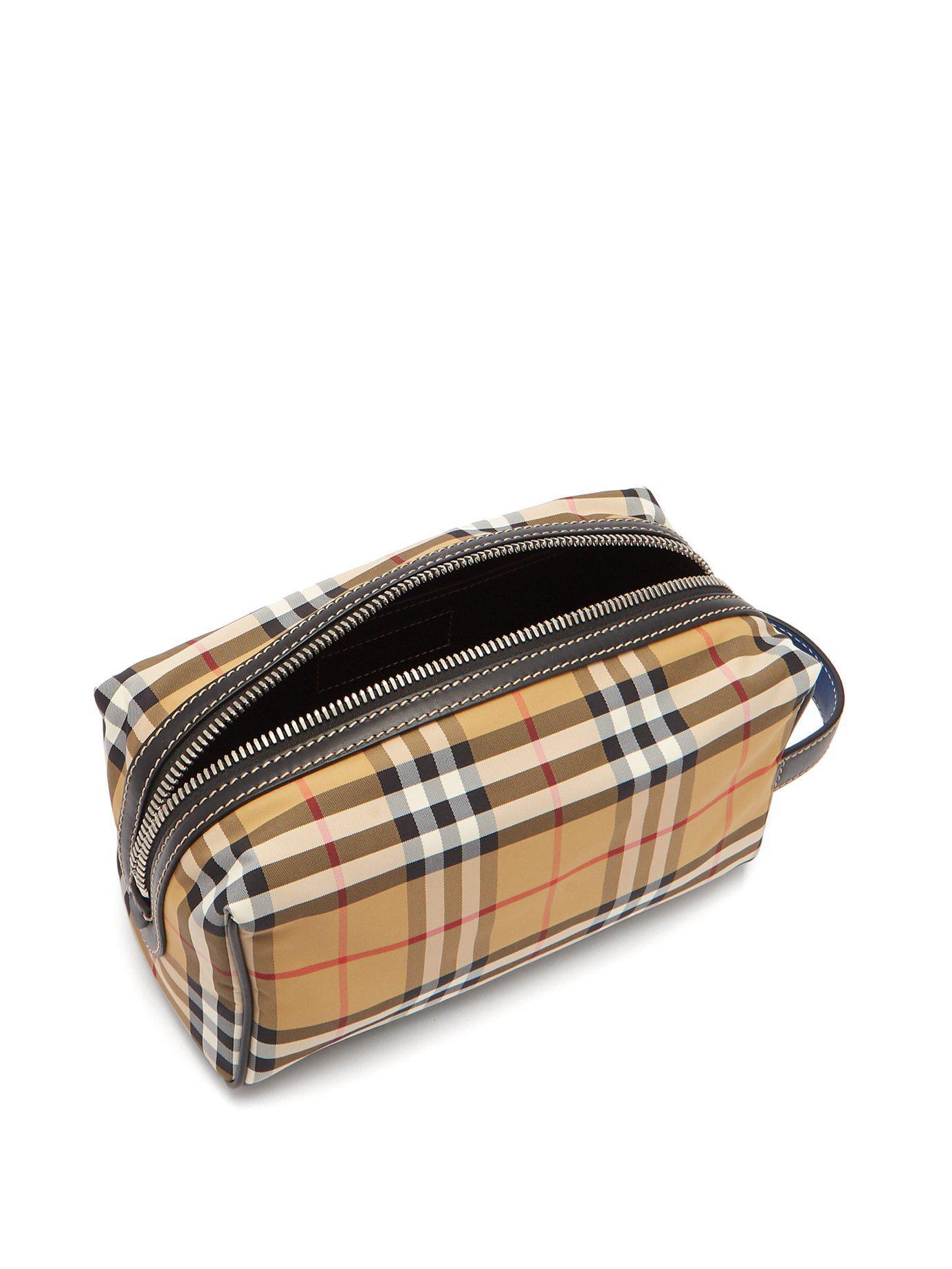 63ba58816b5 Burberry - Brown Vintage Check Nylon Wash Bag for Men - Lyst. View  fullscreen