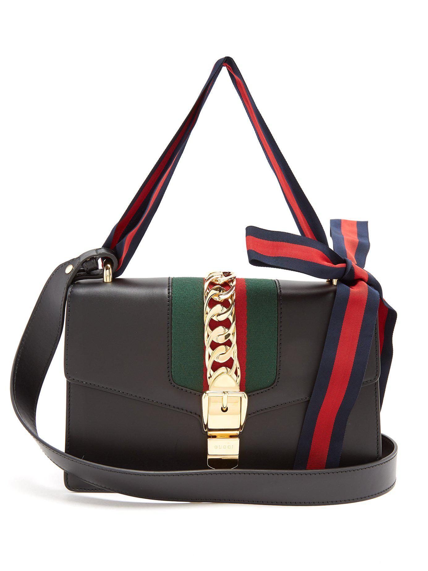 gucci sylvie leather shoulder bag in black