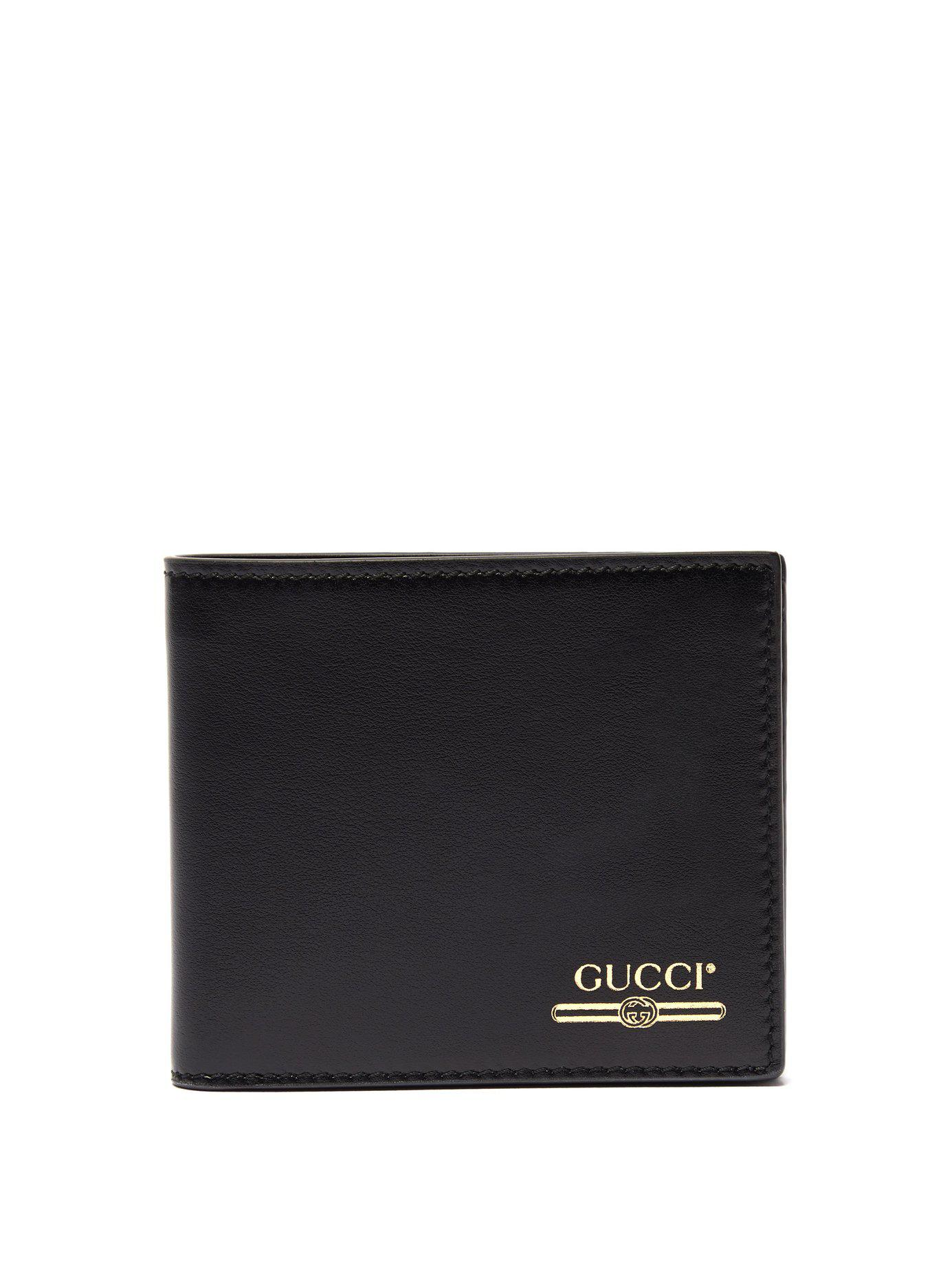 0a3c91580a29 Gucci - Black Debossed Bi Fold Leather Wallet for Men - Lyst. View  fullscreen