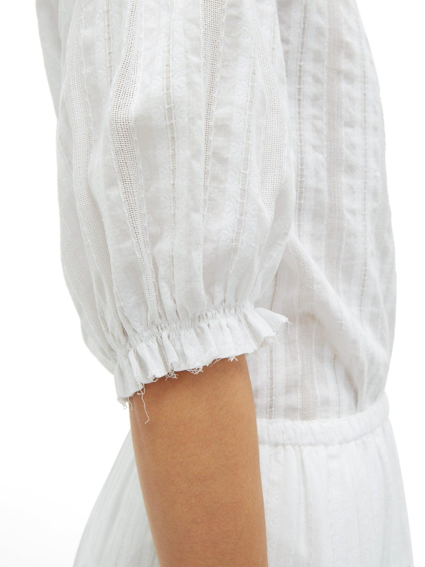 NYDJ Embroidered Peasant Blouse Tassels White Red Cotton NWT $108 Size Medium