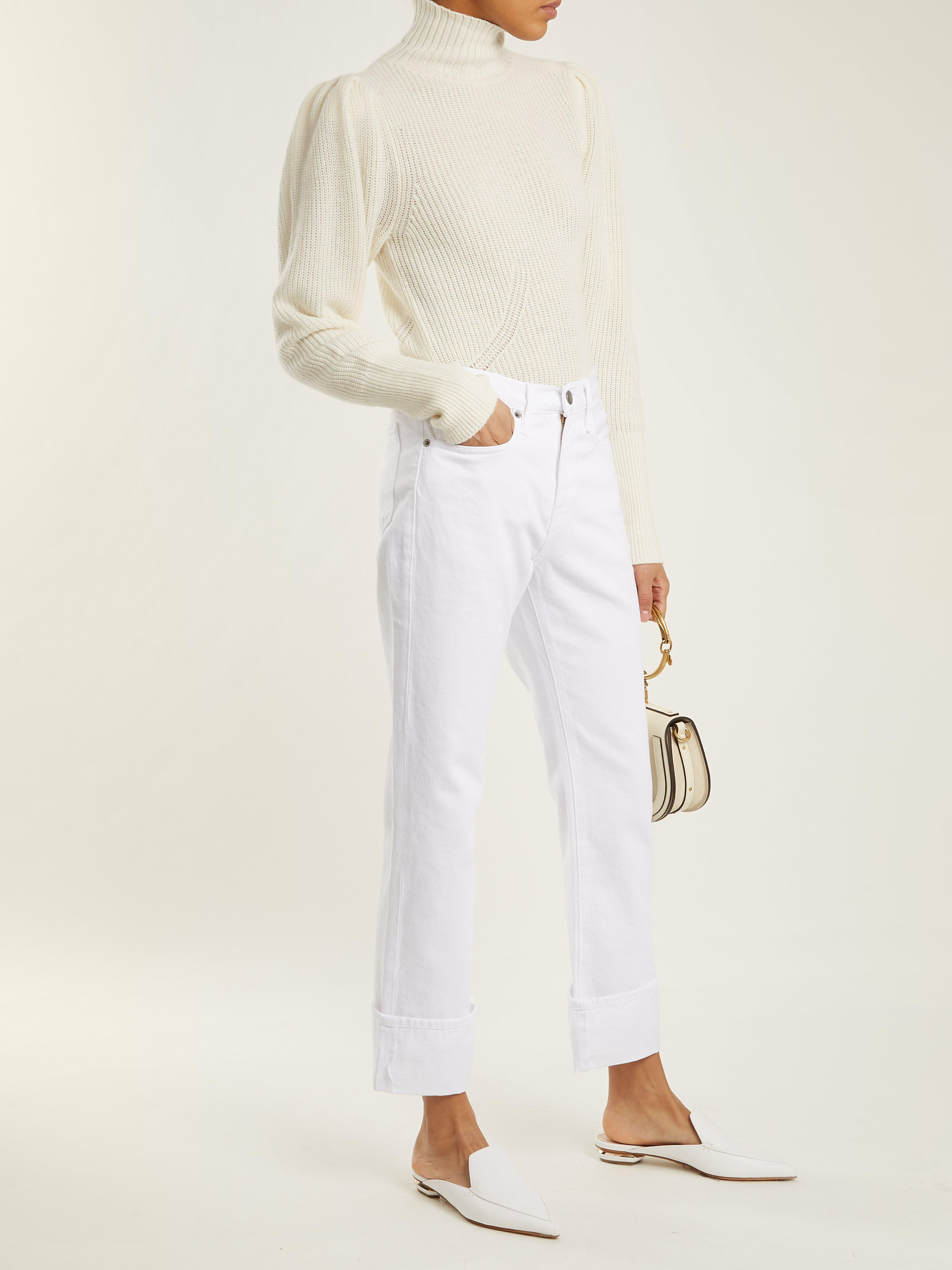 FRAME High-neck Wool-blend Ribbed-knit Sweater in Cream (Natural)