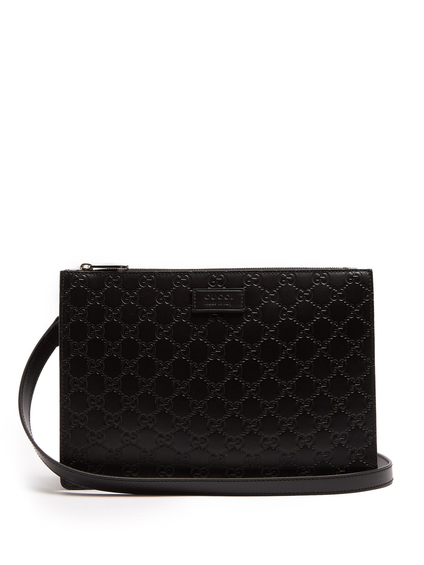effb7752151 Lyst - Gucci Gg-debossed Leather Cross-body Bag in Black for Men