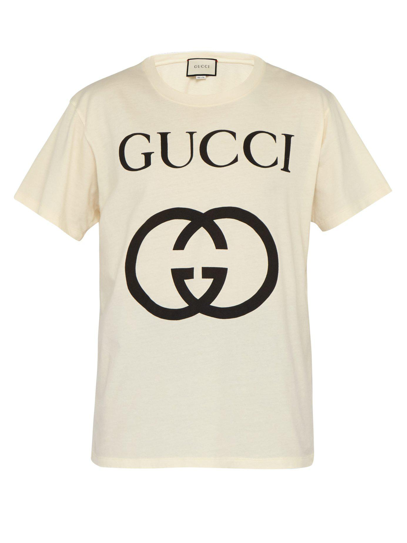 b85551f59 Gucci - Multicolor Logo Print Cotton T Shirt for Men - Lyst. View fullscreen